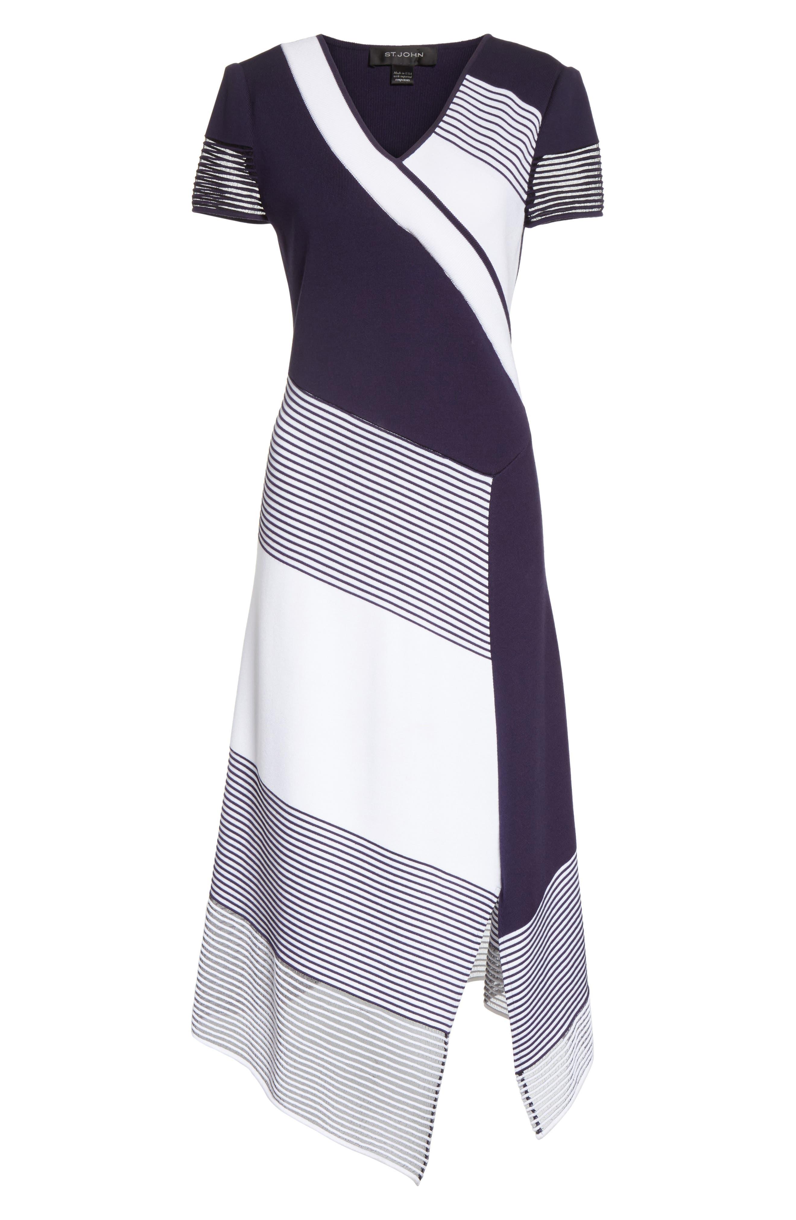 Colorblock Tech Knit Dress,                             Alternate thumbnail 6, color,                             100