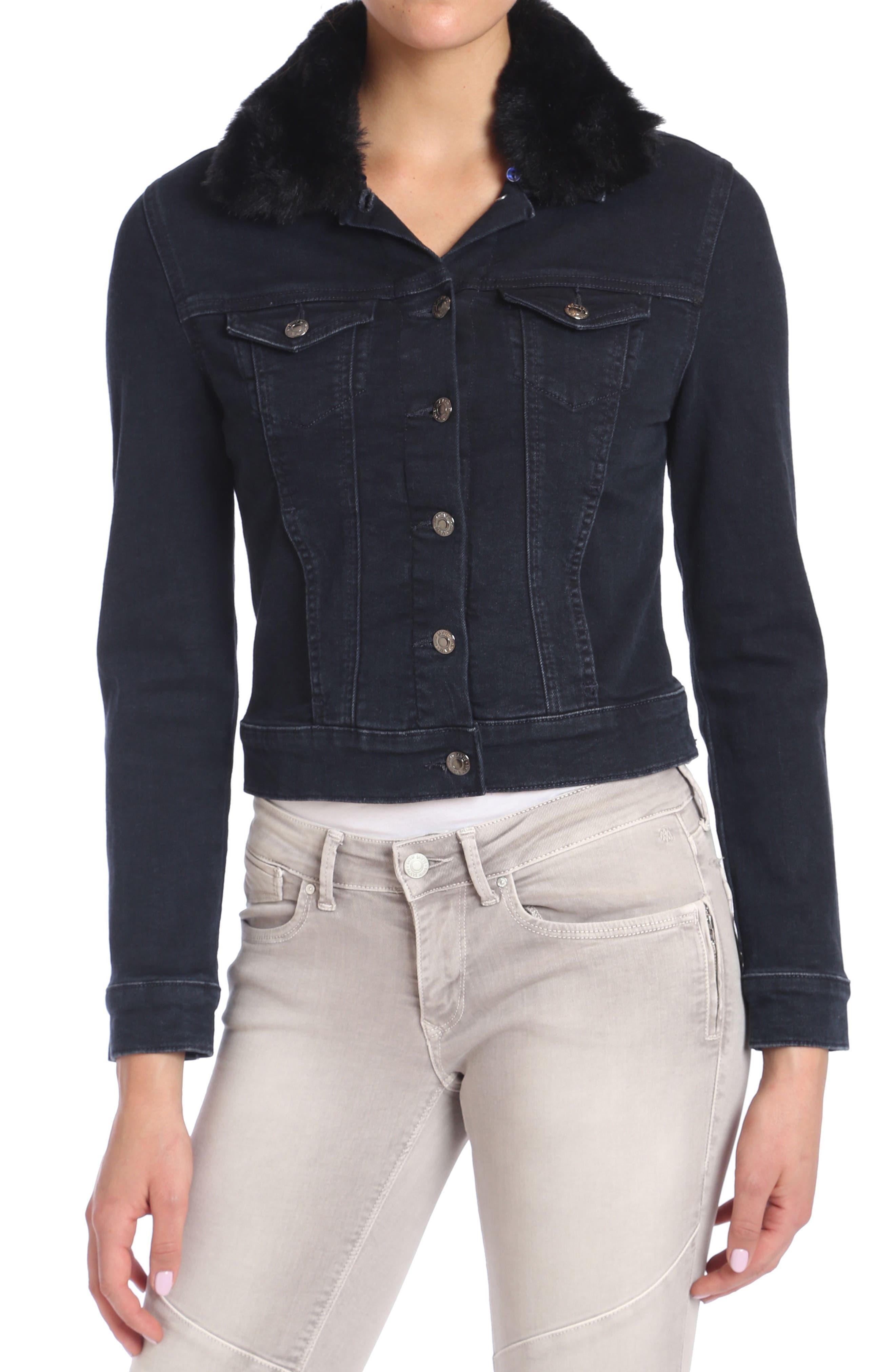 Samantha Faux Fur Collar Denim Jacket,                             Alternate thumbnail 2, color,                             011