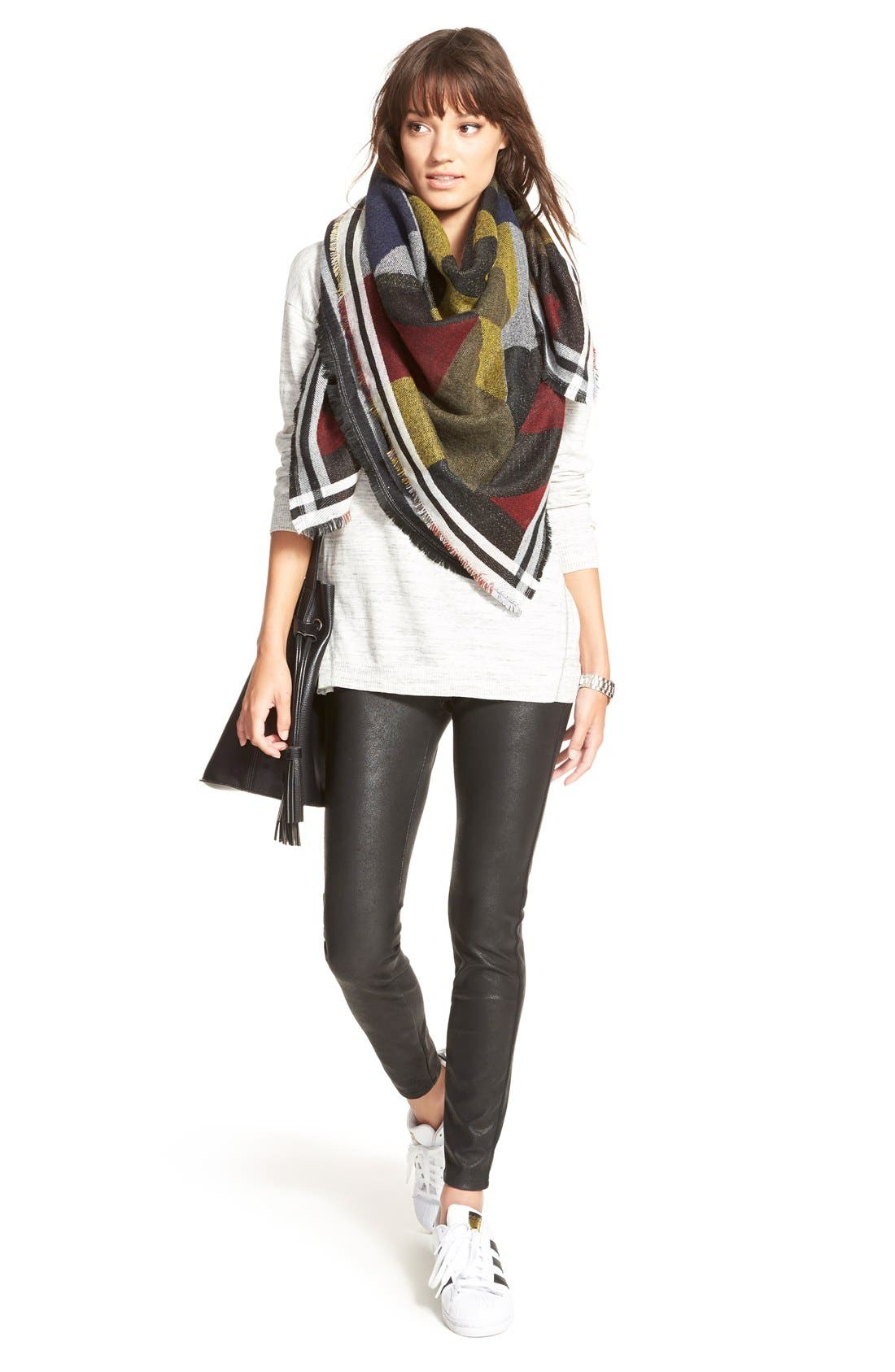 Colorblock Blanket Scarf,                             Alternate thumbnail 4, color,                             410