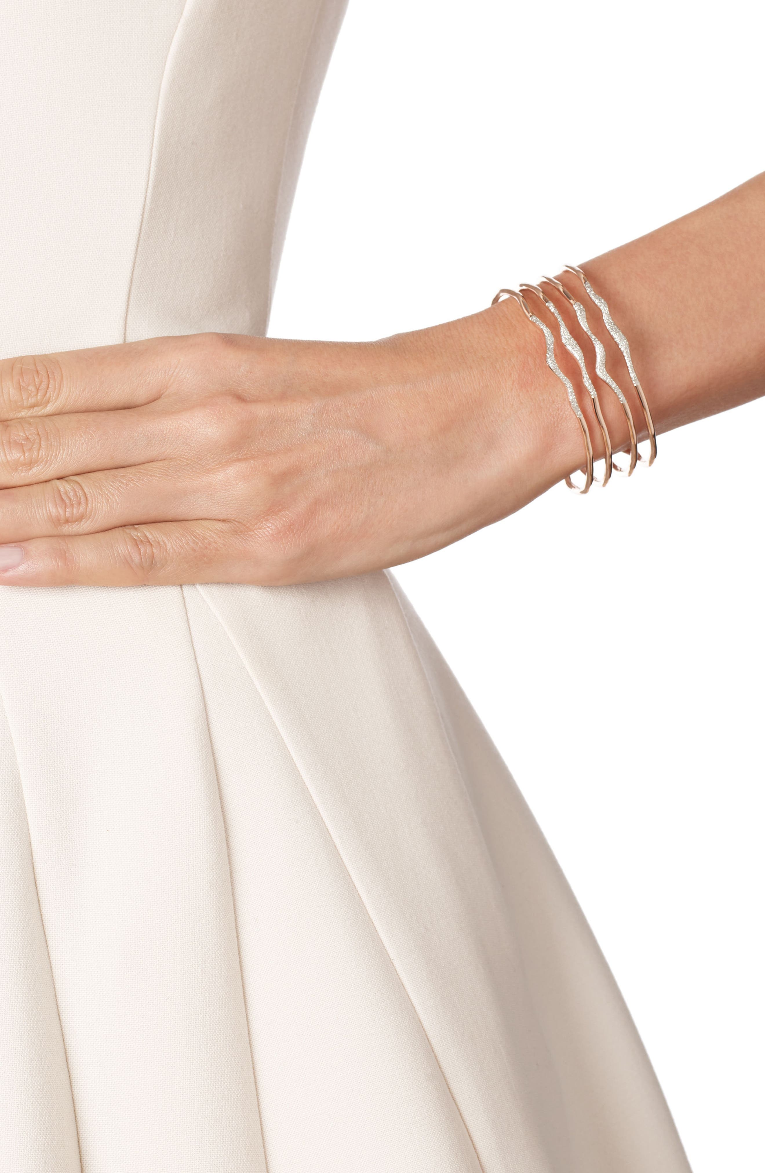 Riva Diamond Hero Wave Cuff Bracelet,                             Alternate thumbnail 2, color,                             ROSE GOLD/ DIAMOND