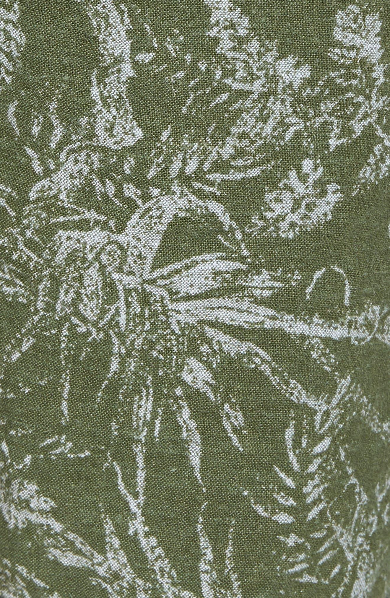 E-Waist Print Linen Blend Shorts,                             Alternate thumbnail 5, color,                             310