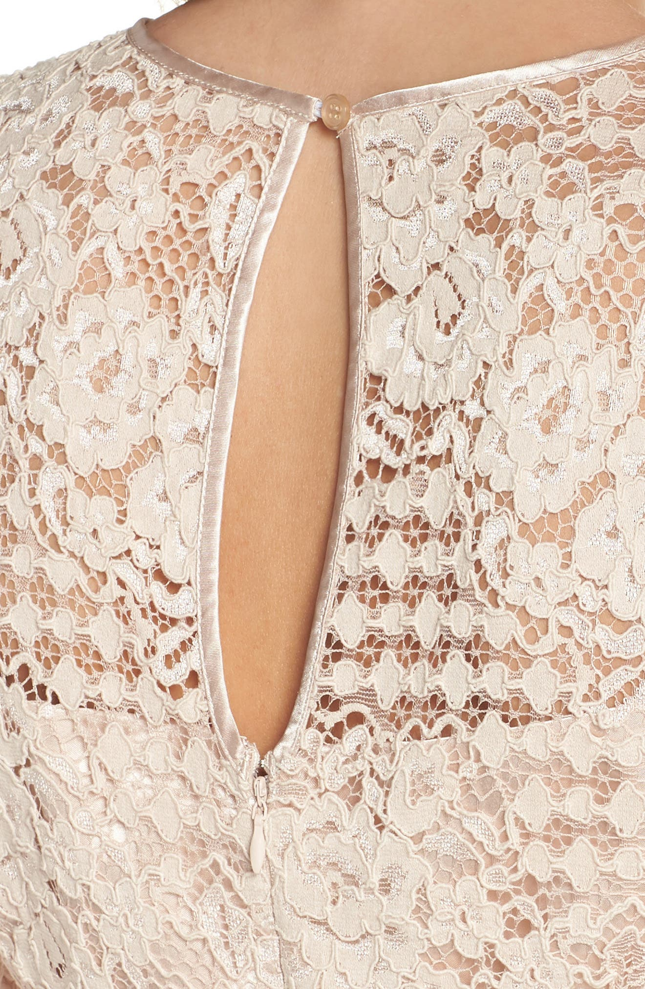 Ruched Sleeve Lace Dress,                             Alternate thumbnail 4, color,                             PINK BLUSH
