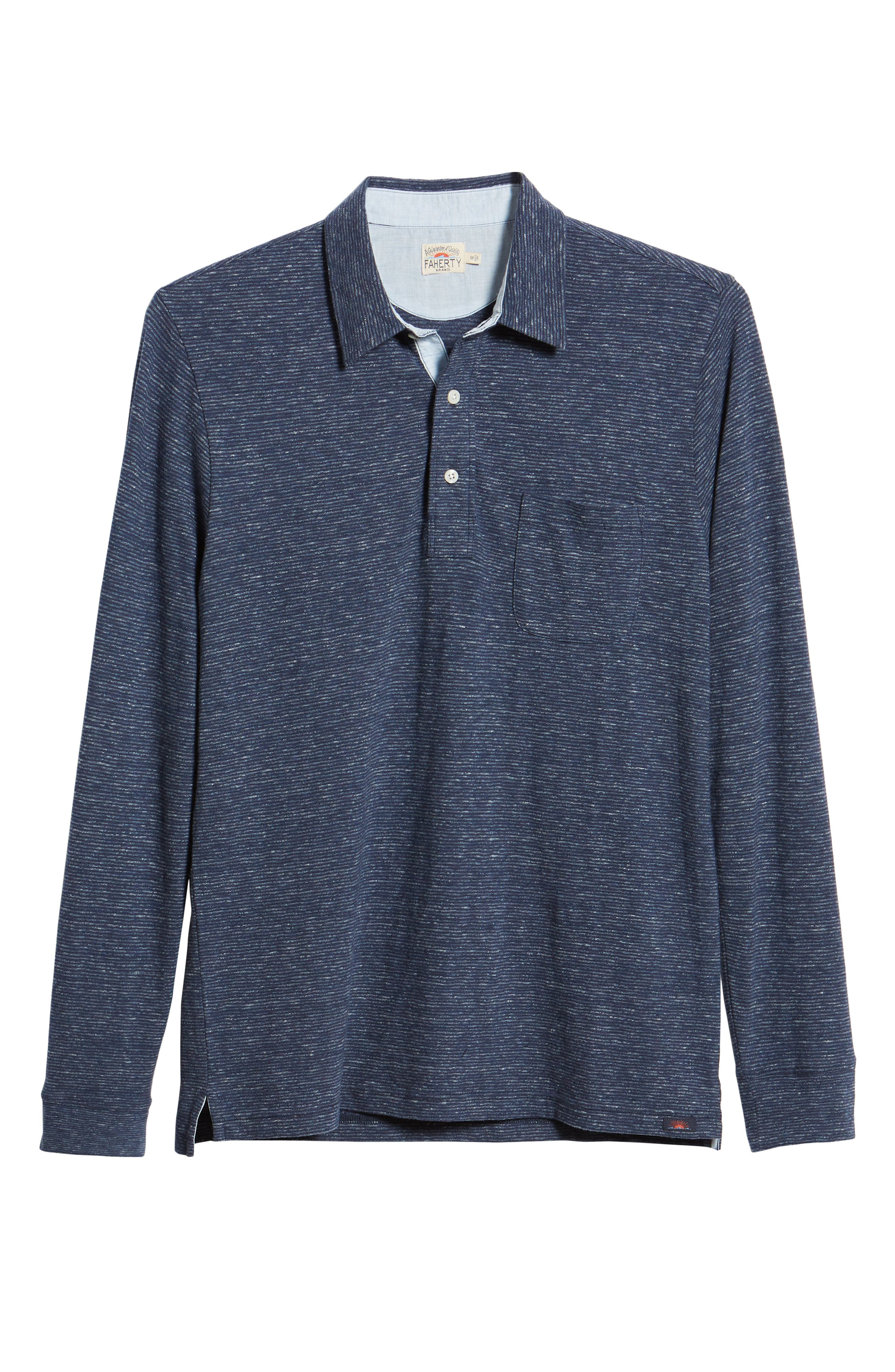 Luxe Heather Long Sleeve Polo,                             Alternate thumbnail 6, color,                             NAVY STRIPE