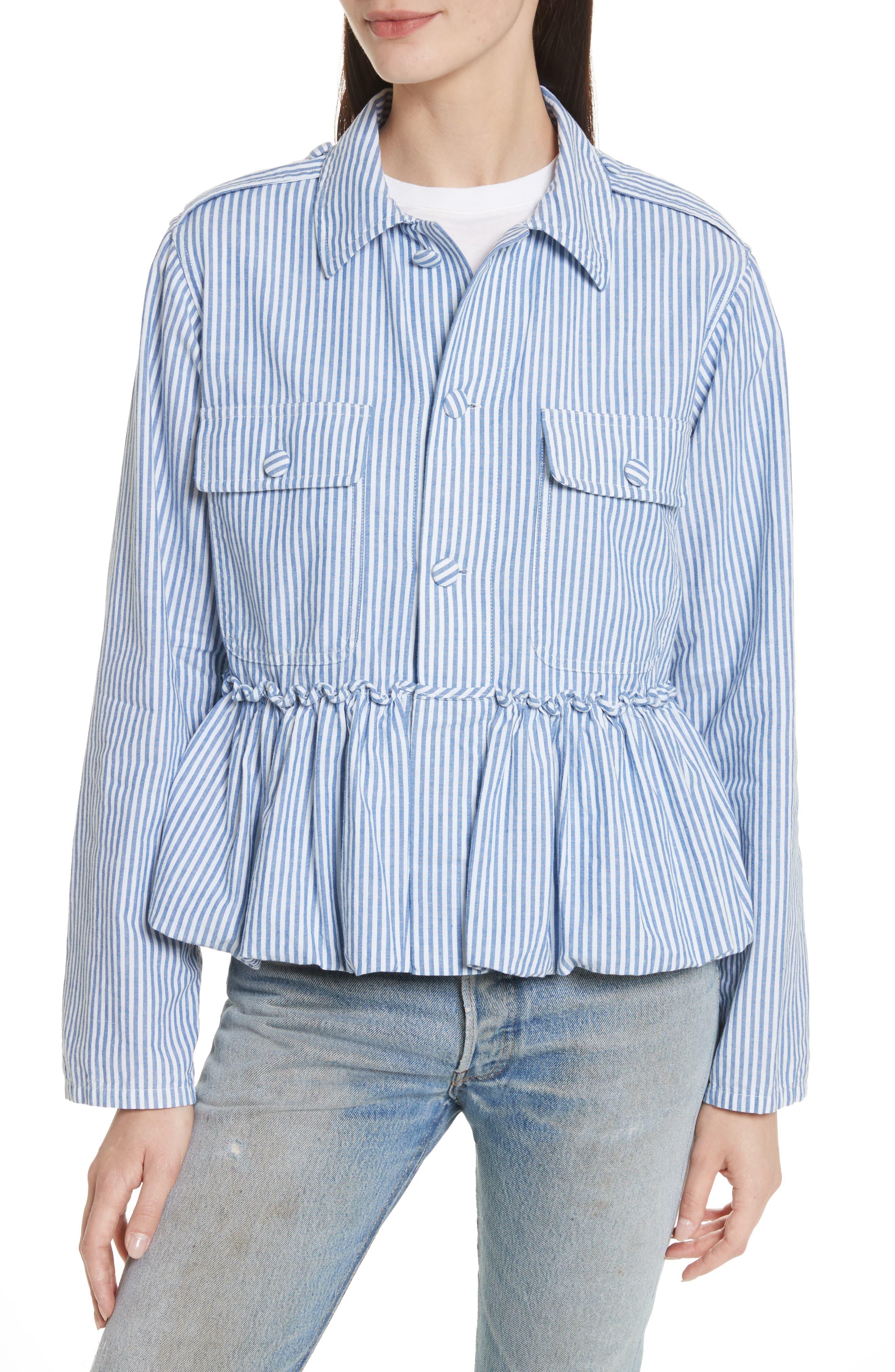 Stripe Bubble Hem Jacket,                             Main thumbnail 1, color,                             400