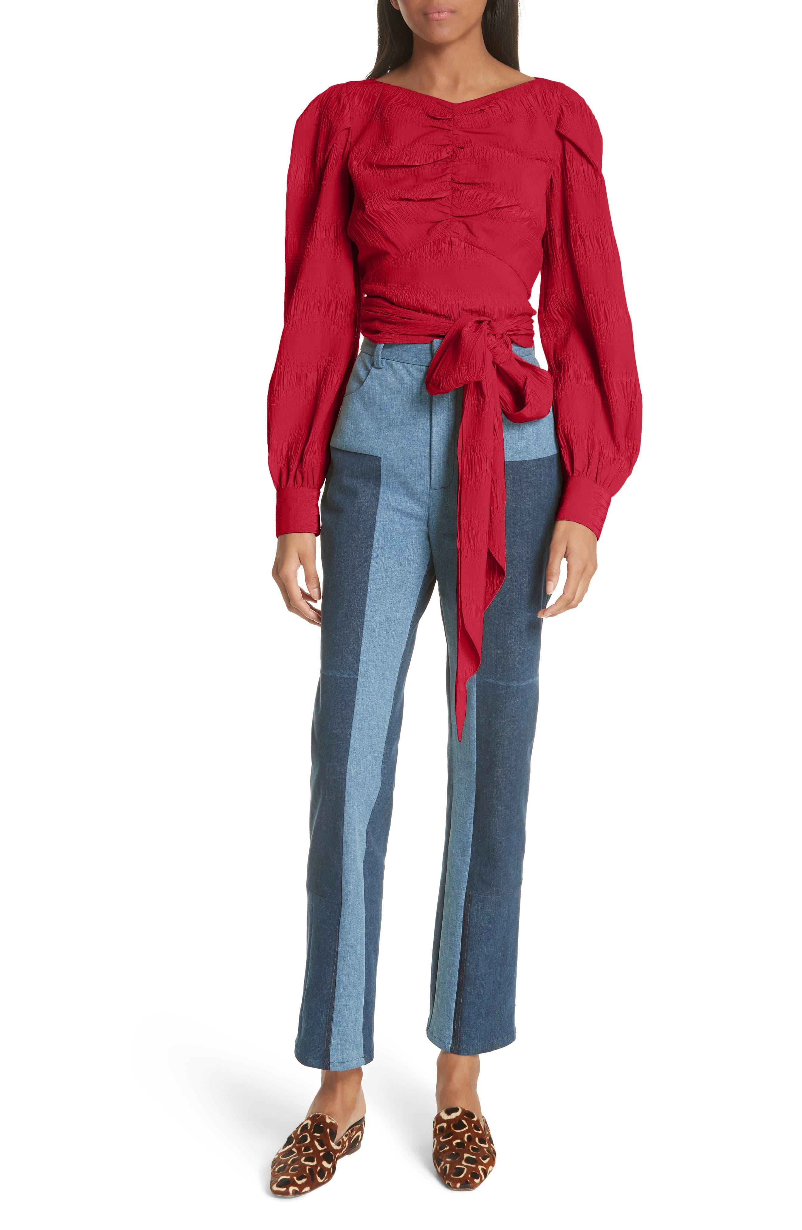 RACHEL COMEY,                             Bounds Tie Waist Silk Blend Top,                             Alternate thumbnail 7, color,                             600