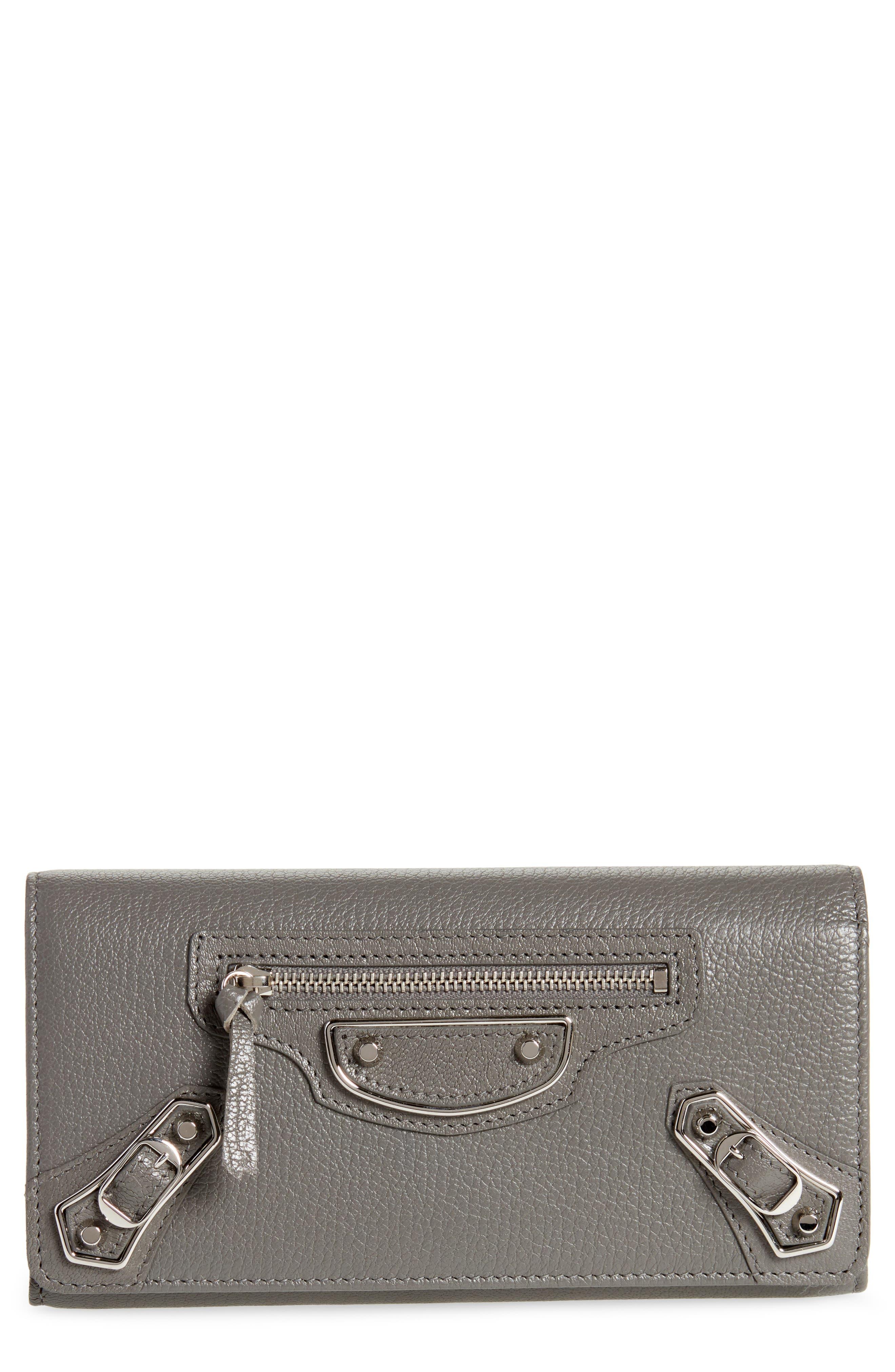 Metallic Edge Money Leather Wallet,                         Main,                         color, GRIS ACIER