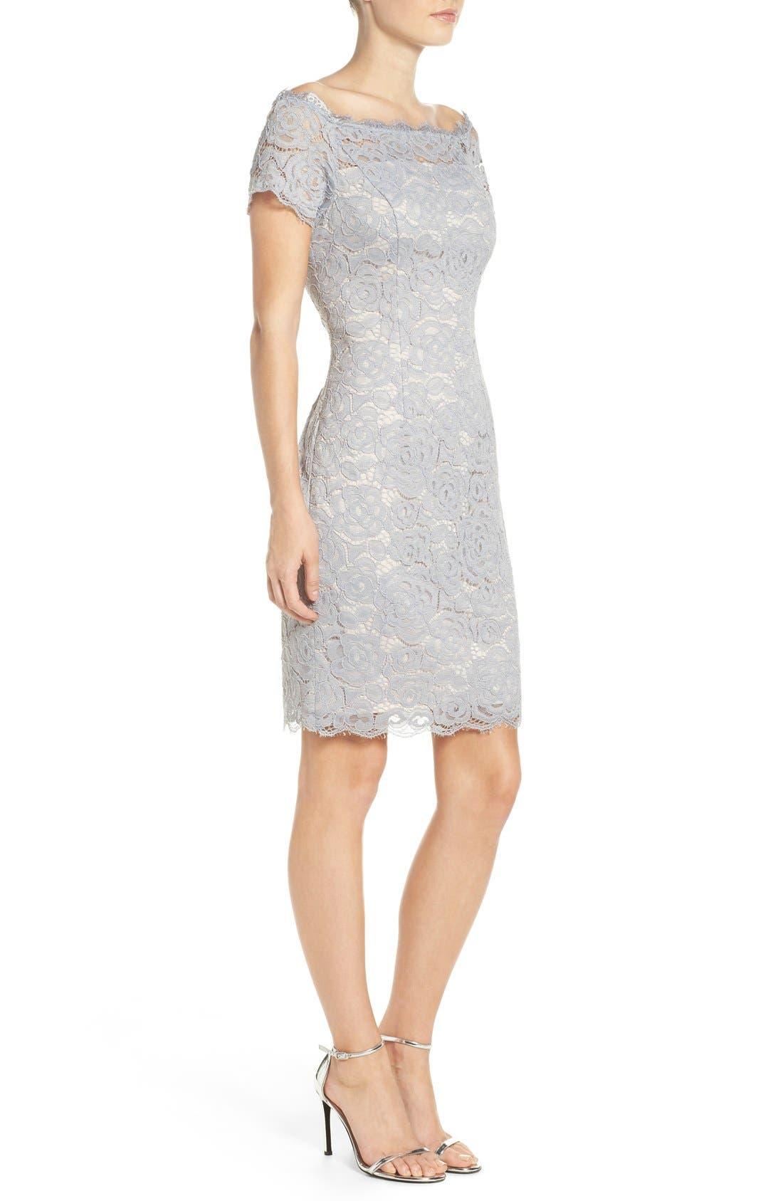Off the Shoulder Lace Sheath Dress,                             Alternate thumbnail 39, color,