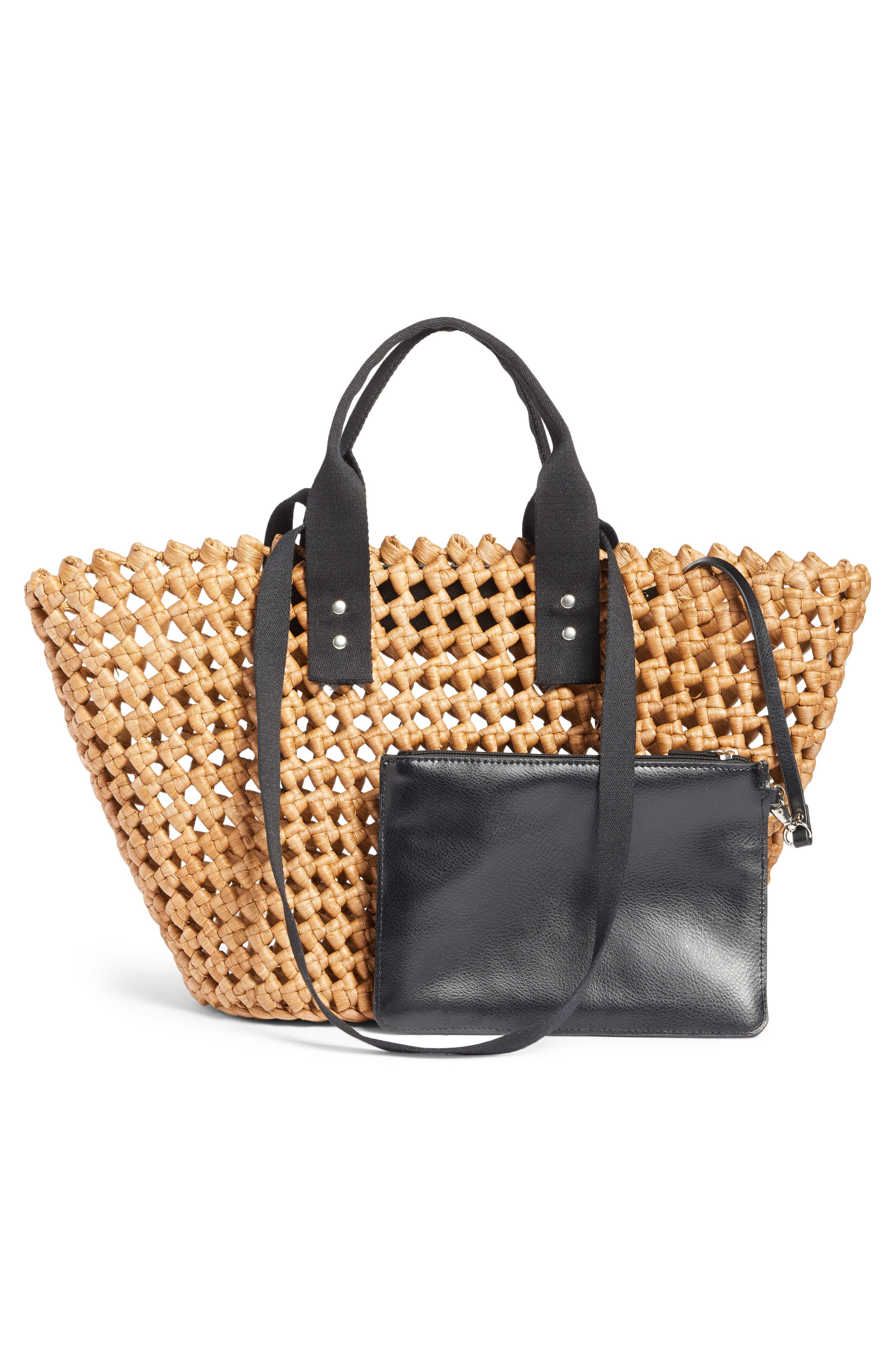 Open Weave Straw Tote,                             Alternate thumbnail 3, color,                             235