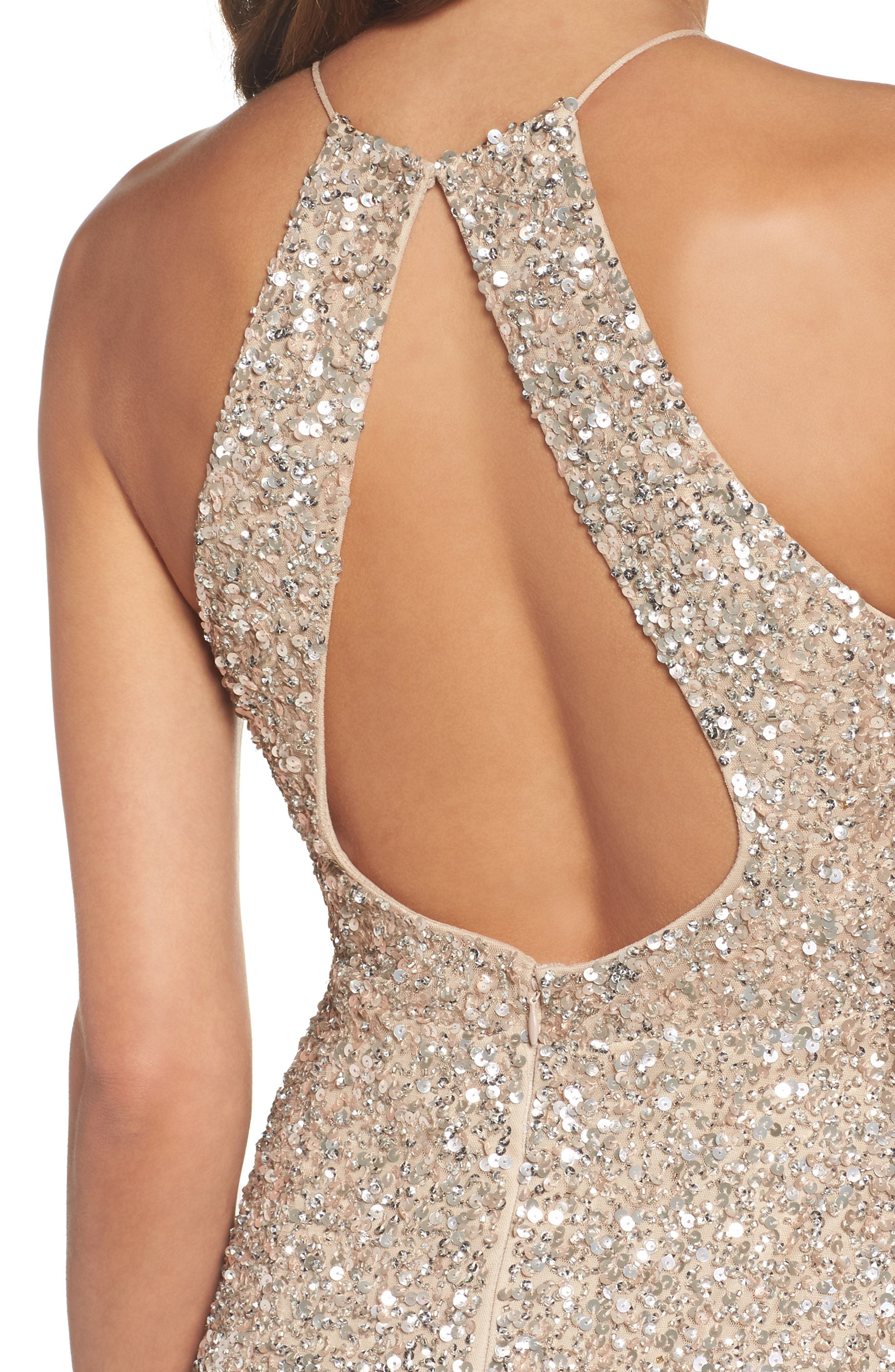 Beaded Halter Gown,                             Alternate thumbnail 4, color,                             273