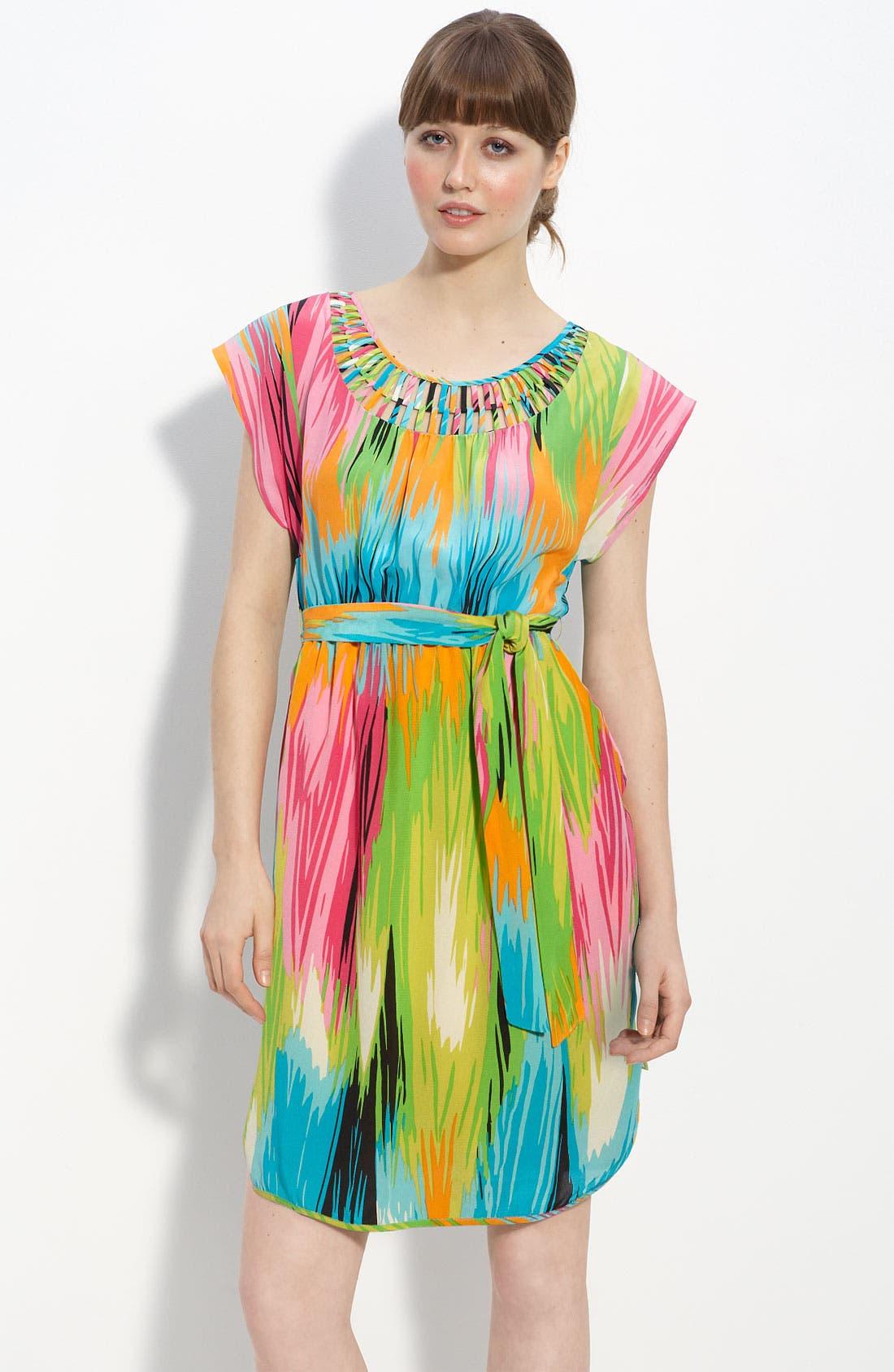 Cutout Neck Crêpe de Chine Dress,                         Main,                         color, 437