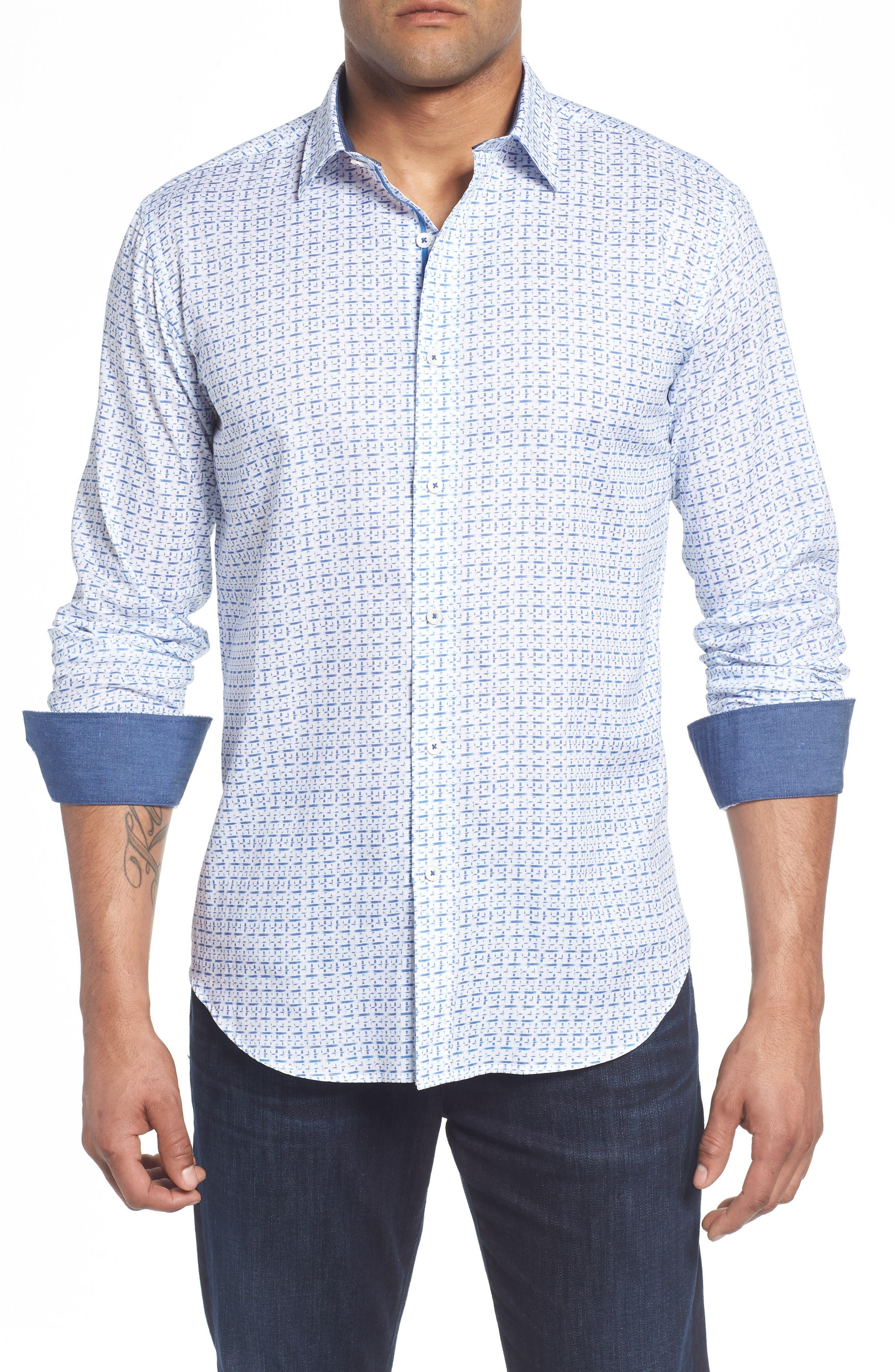 Shaped Fit Print Sport Shirt,                             Main thumbnail 1, color,                             422