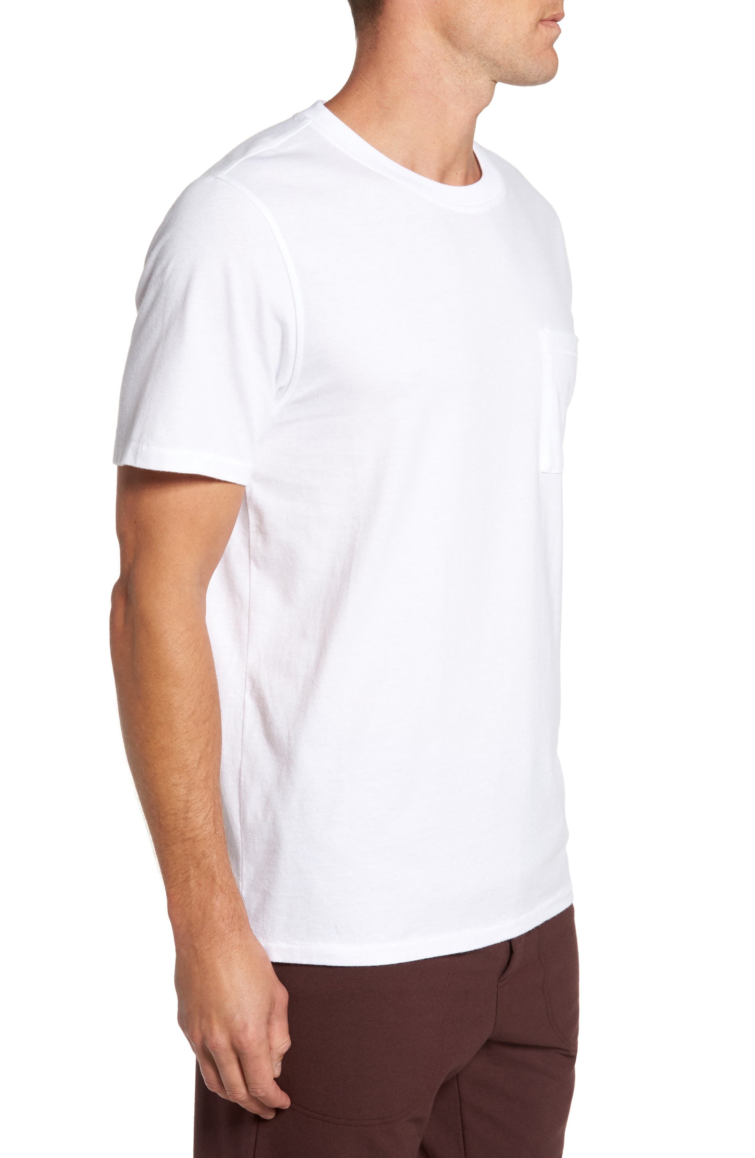 Benjamin Crewneck T-Shirt,                             Alternate thumbnail 3, color,                             WHITE