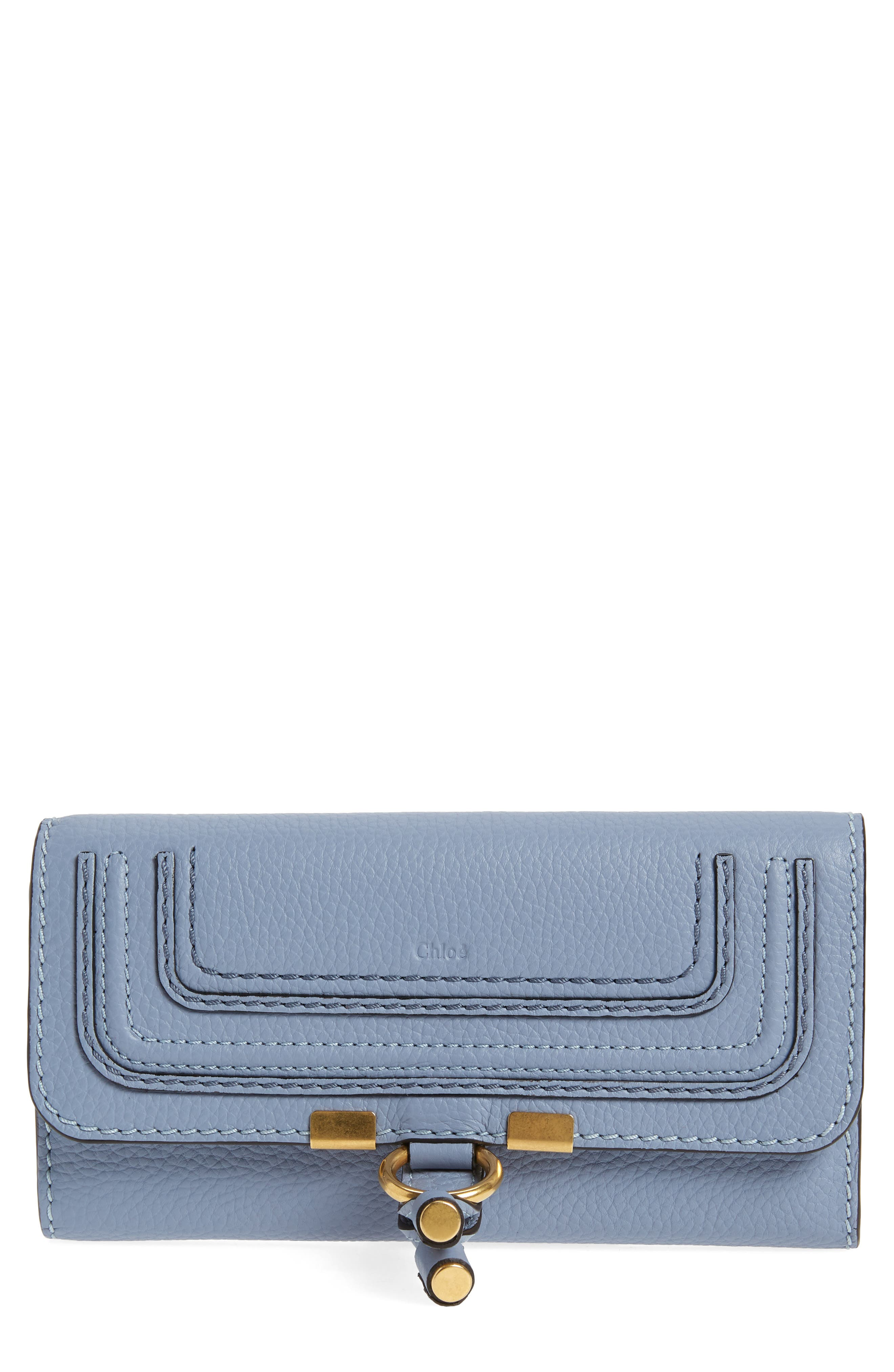 Marcie - Long Leather Flap Wallet,                         Main,                         color, WASHED BLUE