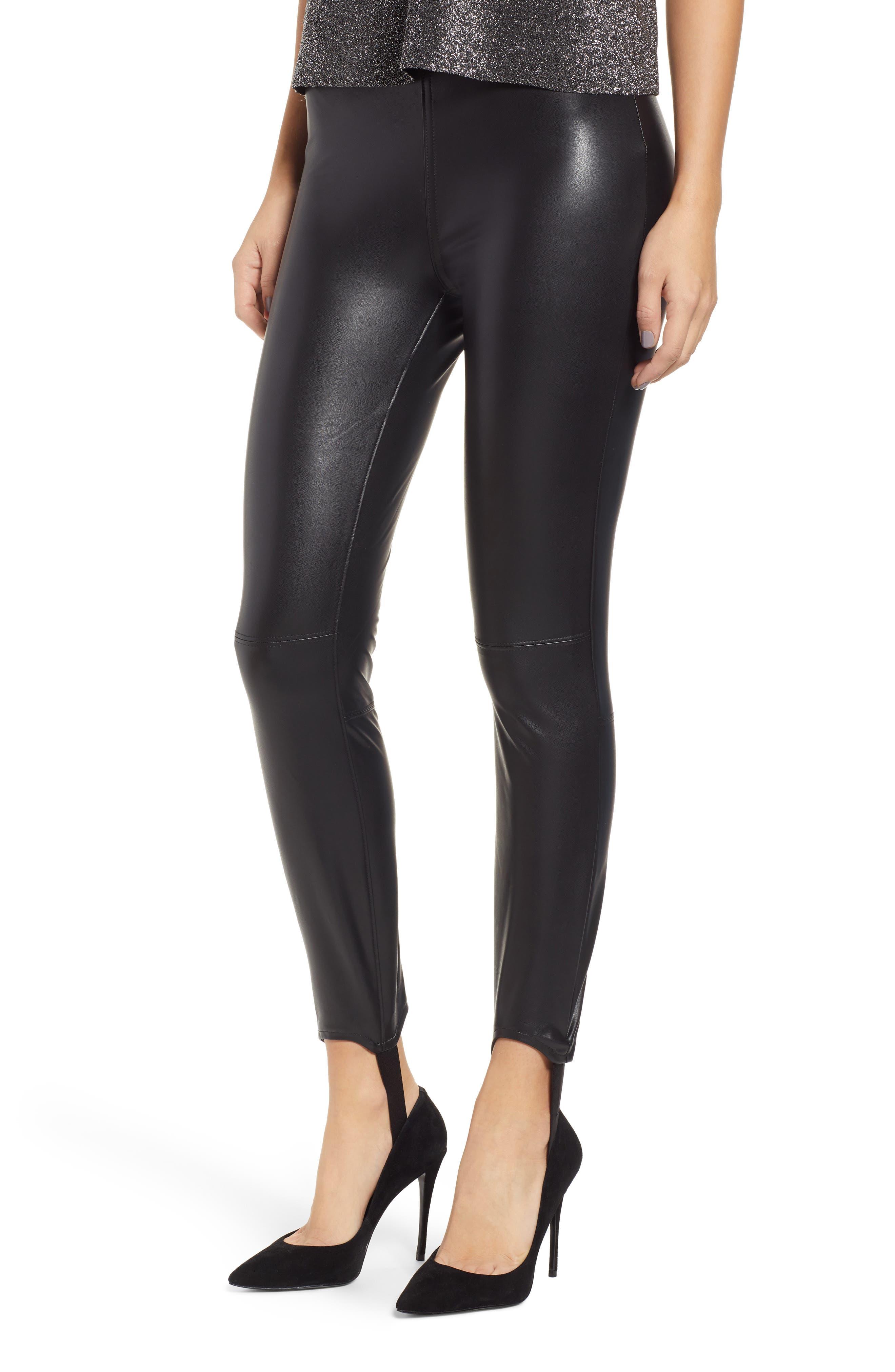 Blanknyc Faux Leather Stirrup Leggings, Black