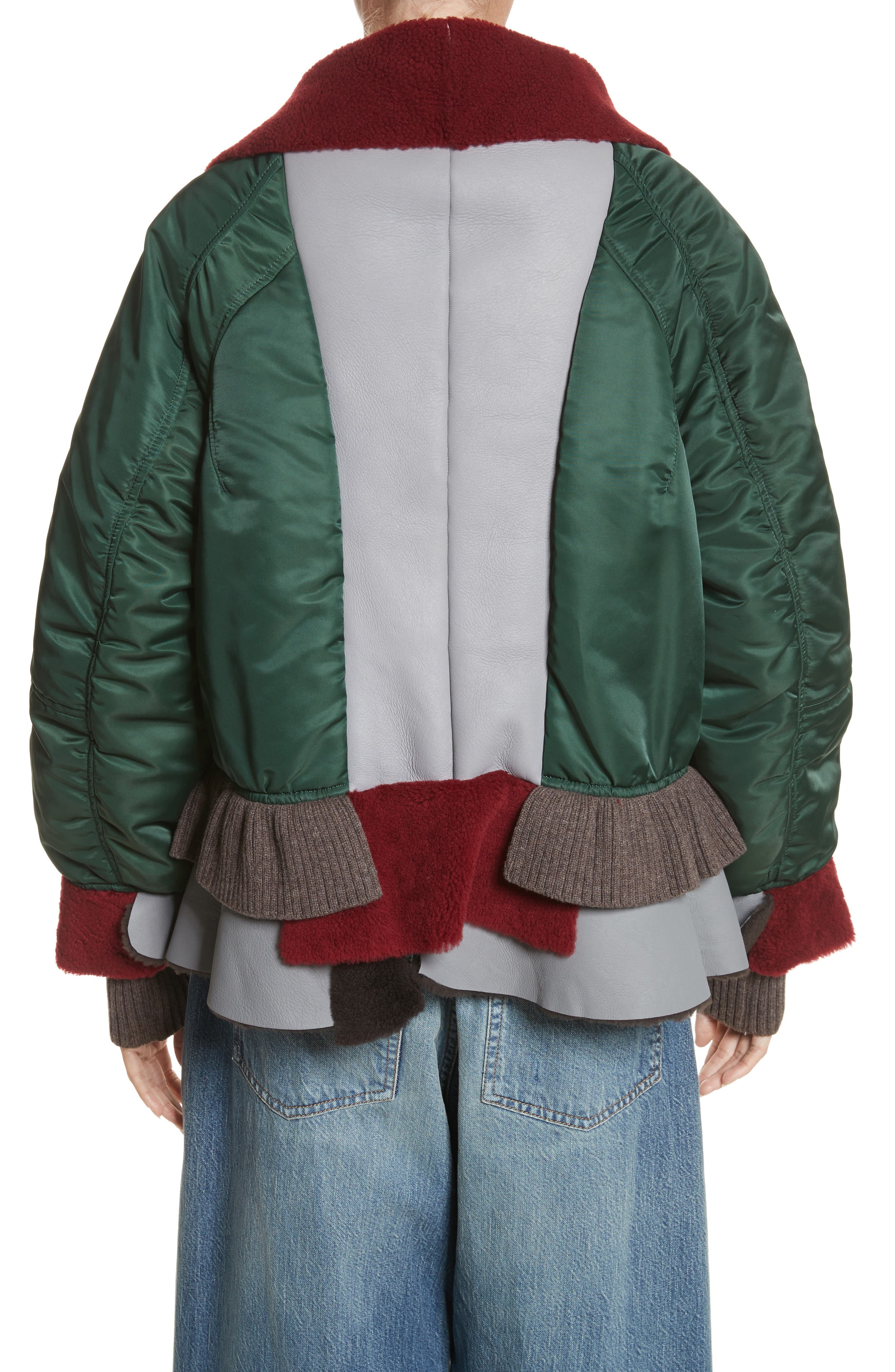 Mixed Media Bomber Jacket with Genuine Shearling Trim,                             Alternate thumbnail 2, color,