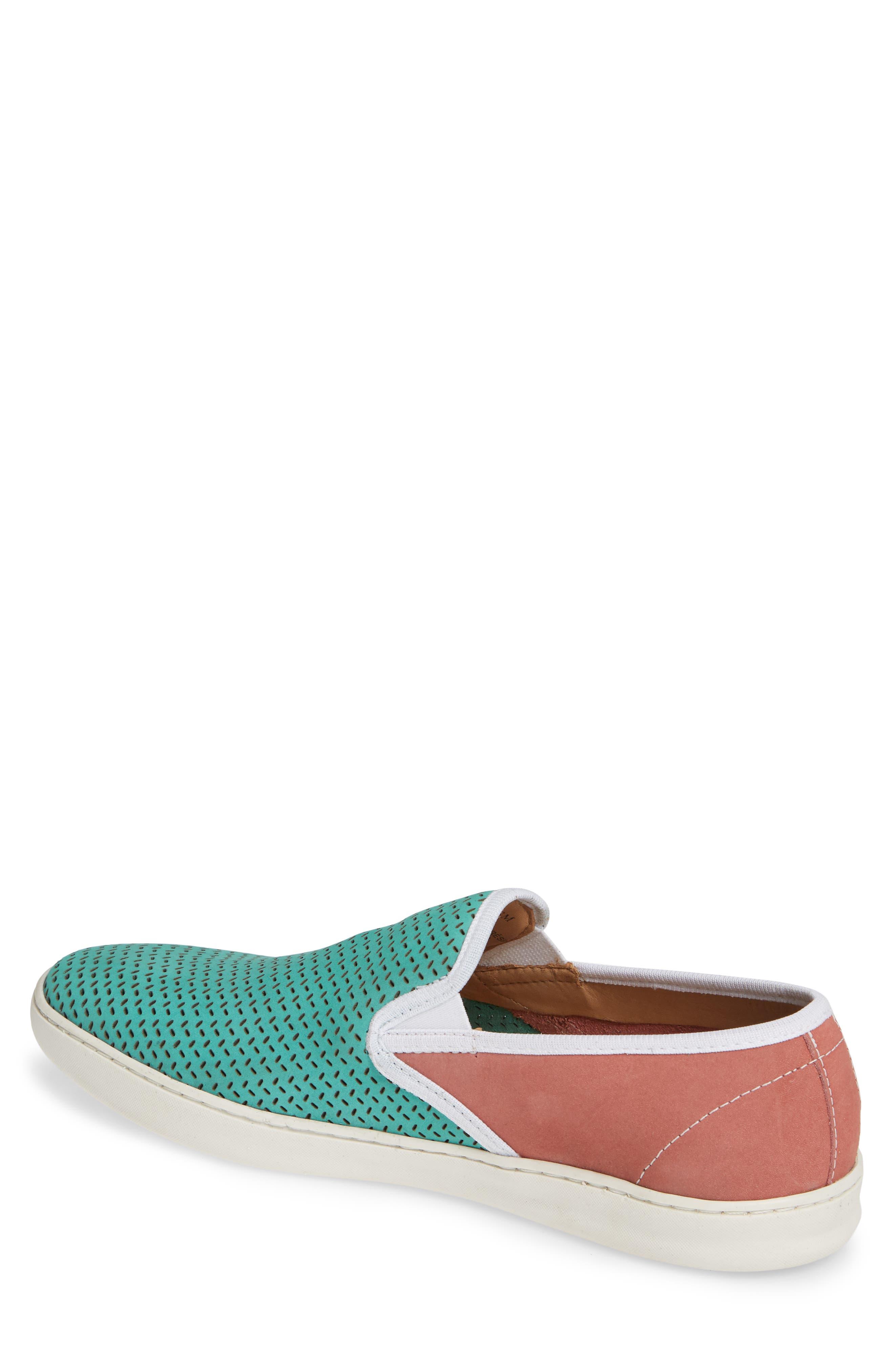 Malibu Perforated Loafer,                             Alternate thumbnail 2, color,                             AQUA/PINK NUBUCK
