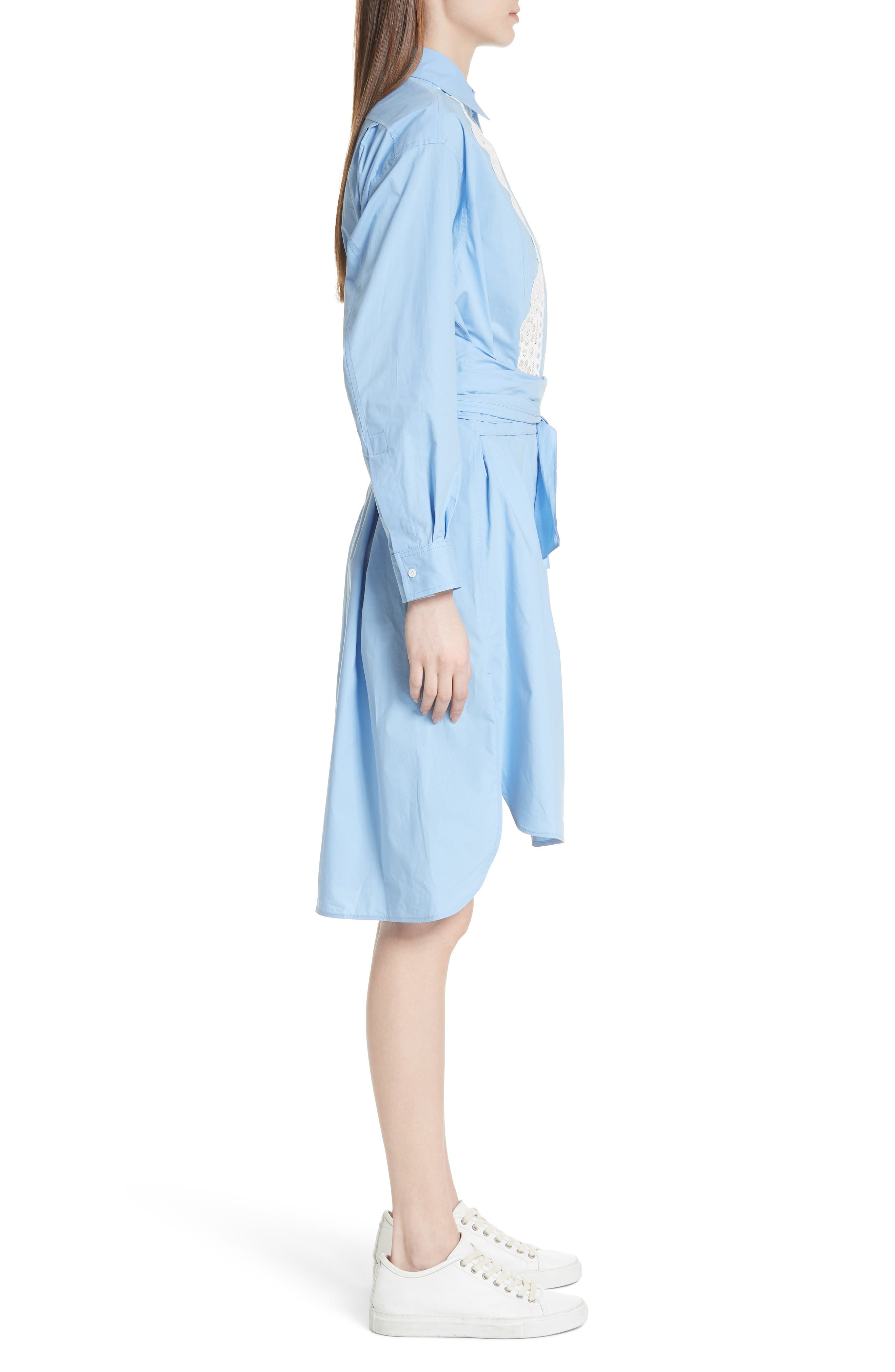 Bleu Ciel Cotton Shirtdress,                             Alternate thumbnail 3, color,