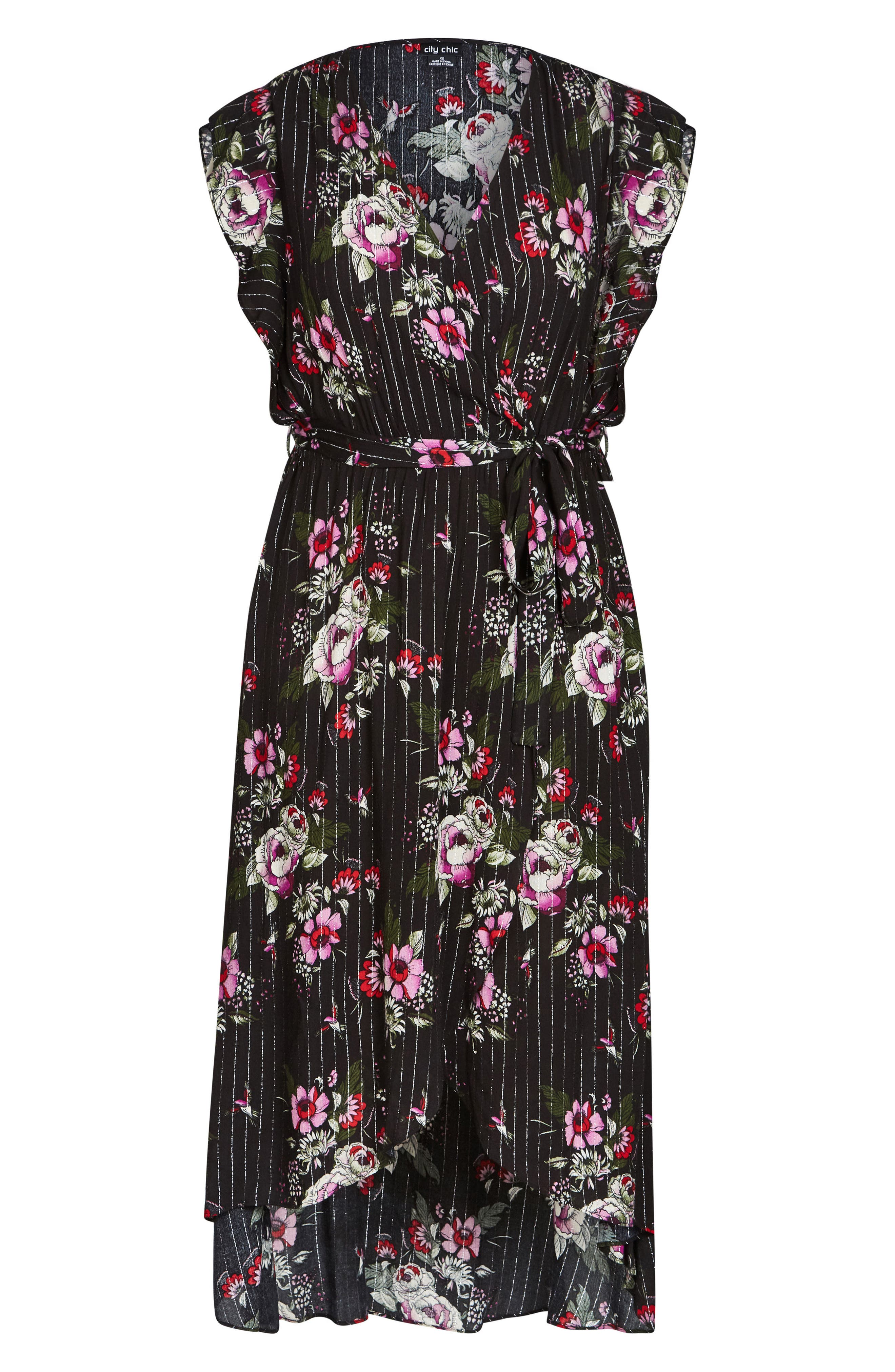 Lolita Floral High/Low Dress,                             Alternate thumbnail 3, color,                             BLACK