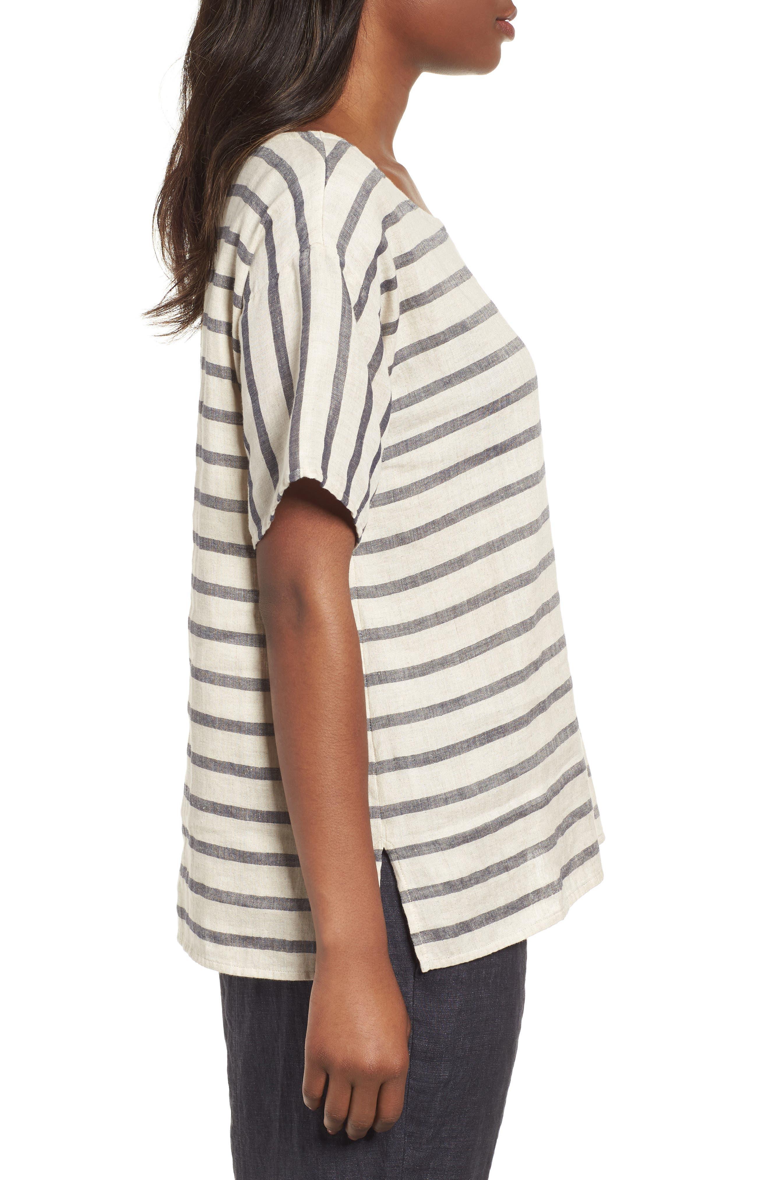 Stripe Linen & Organic Cotton Top,                             Alternate thumbnail 3, color,                             257