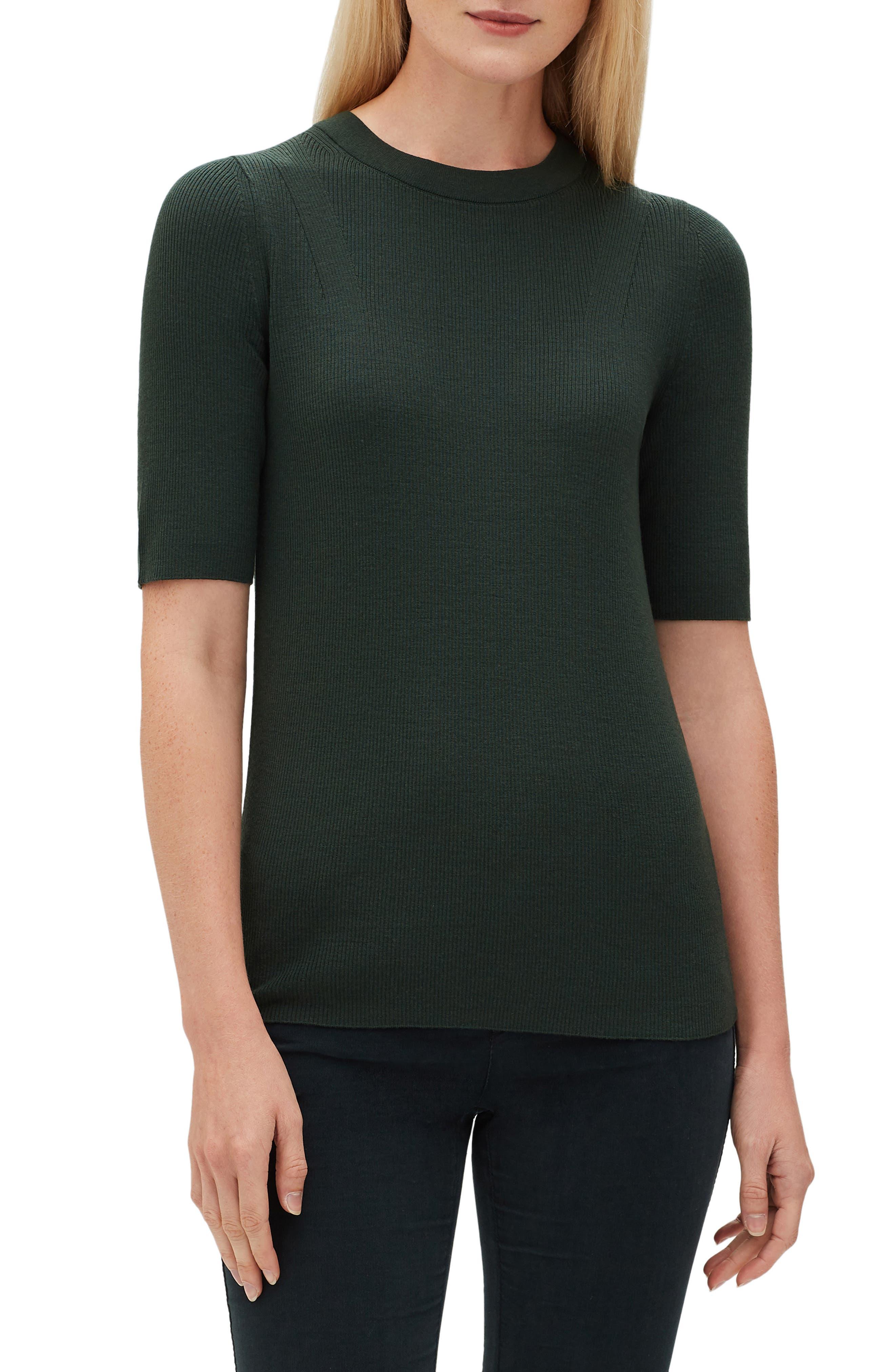 Lafayette 148 New York Ribbed Merino Wool Sweater, Green