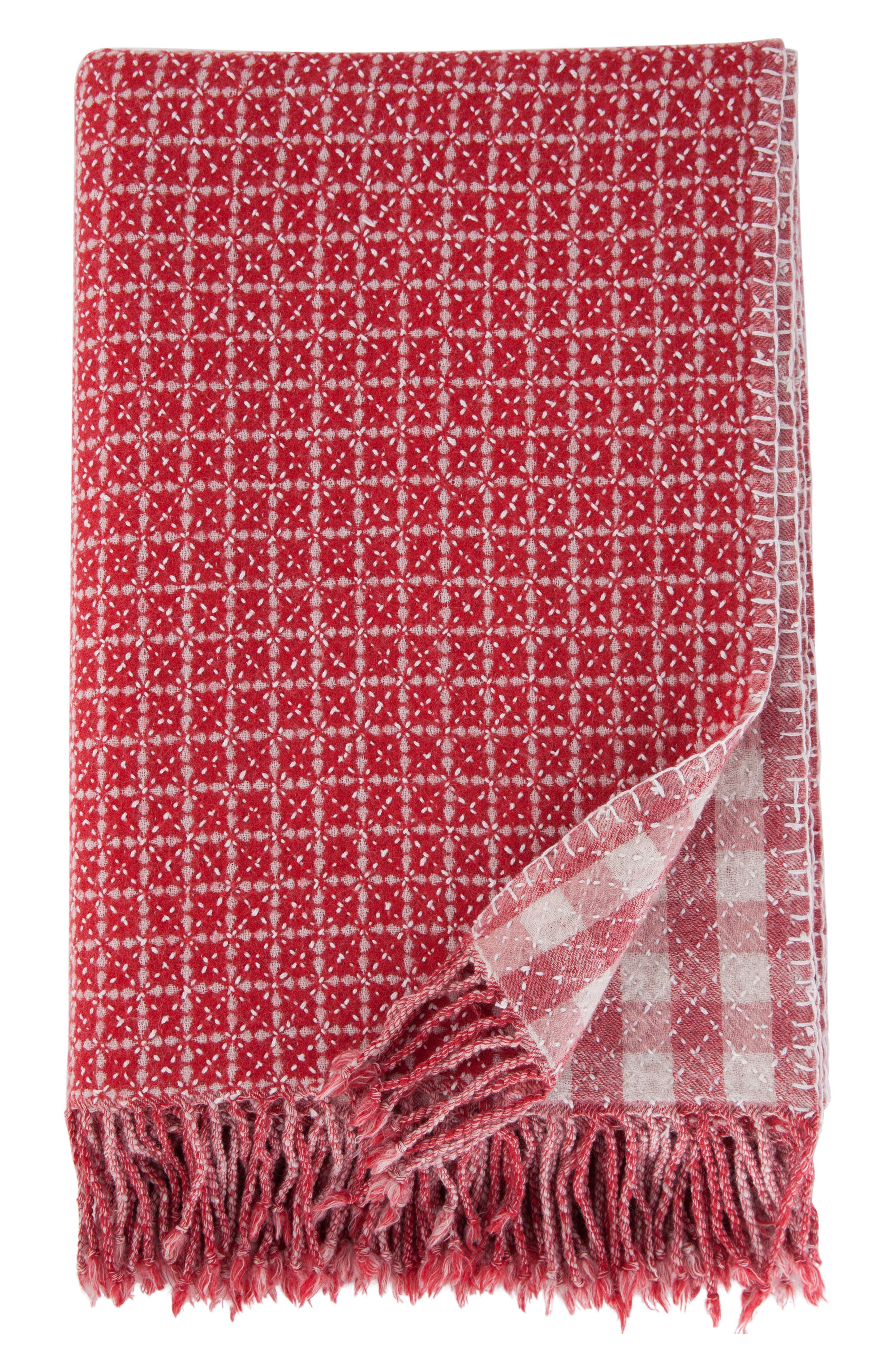 Reversible Hand Embroidered Merino Wool Blanket,                         Main,                         color, RED