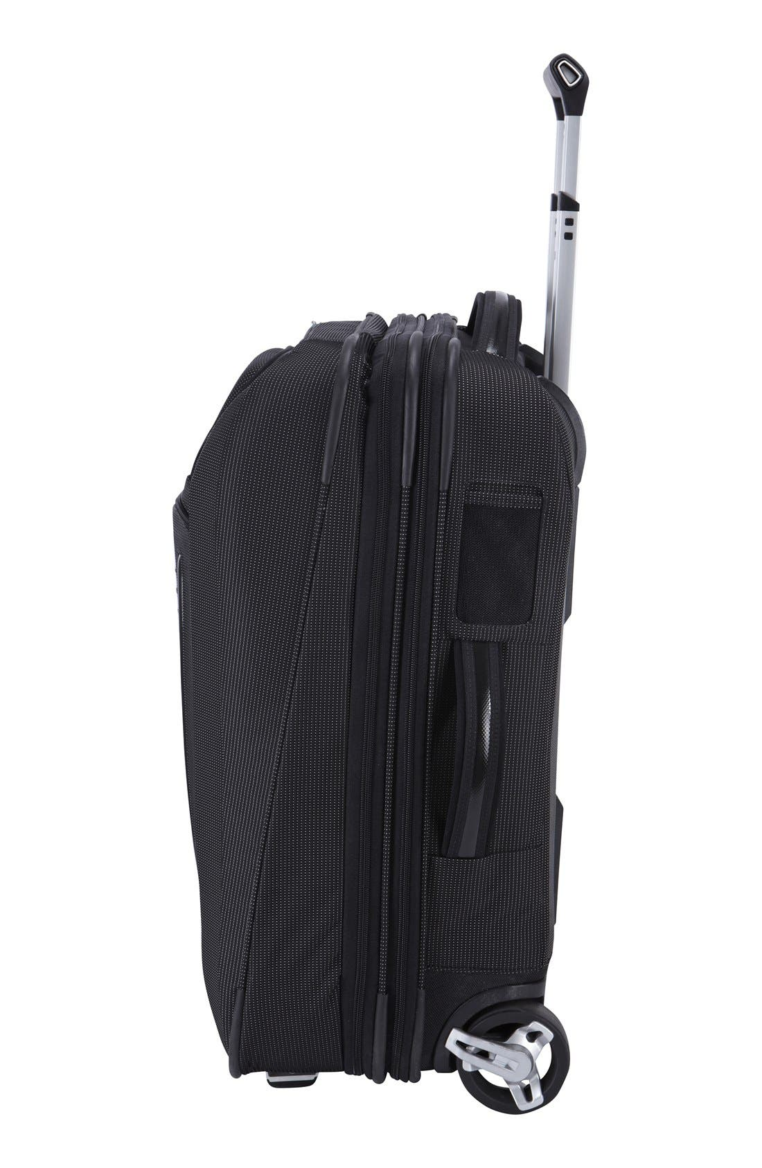 Crossover Rolling 23-Inch Carry-On with Garment Bag,                             Alternate thumbnail 3, color,                             BLACK
