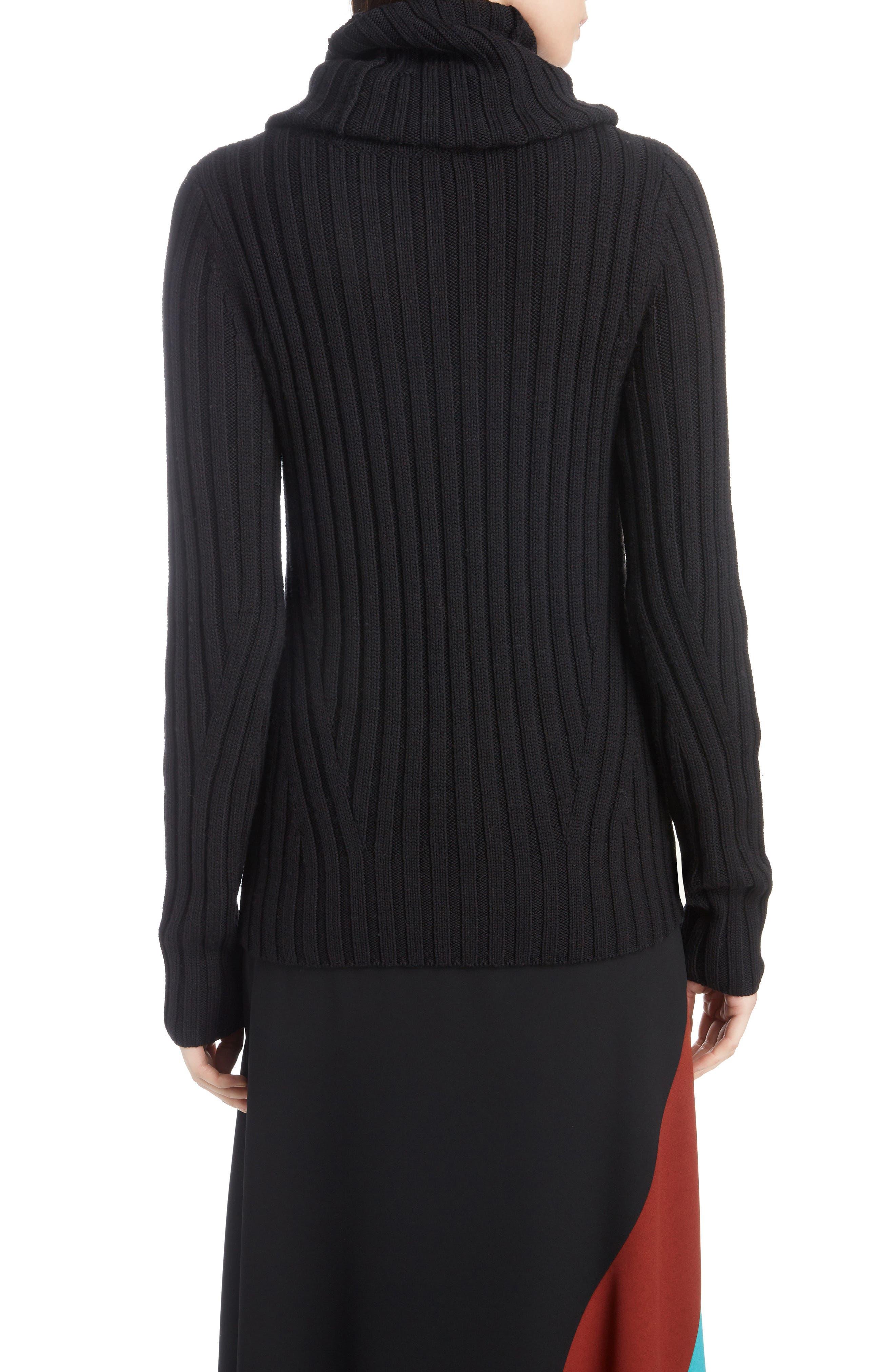 DRIES VAN NOTEN,                             Turtleneck Wool Sweater,                             Alternate thumbnail 2, color,                             BLACK