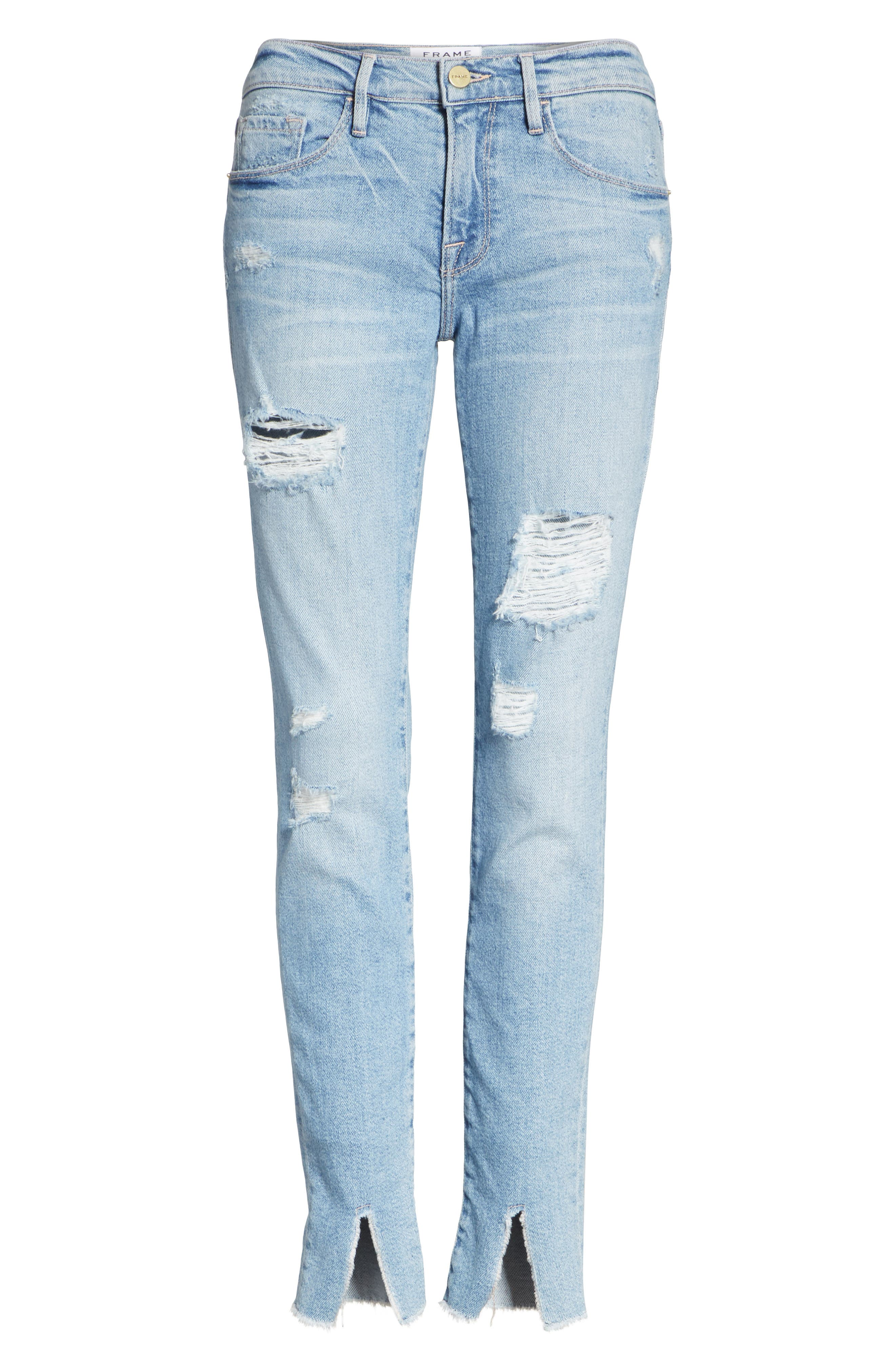 Le Skinny de Jeanne Split Hem Jeans,                             Alternate thumbnail 6, color,                             HIGHGATE