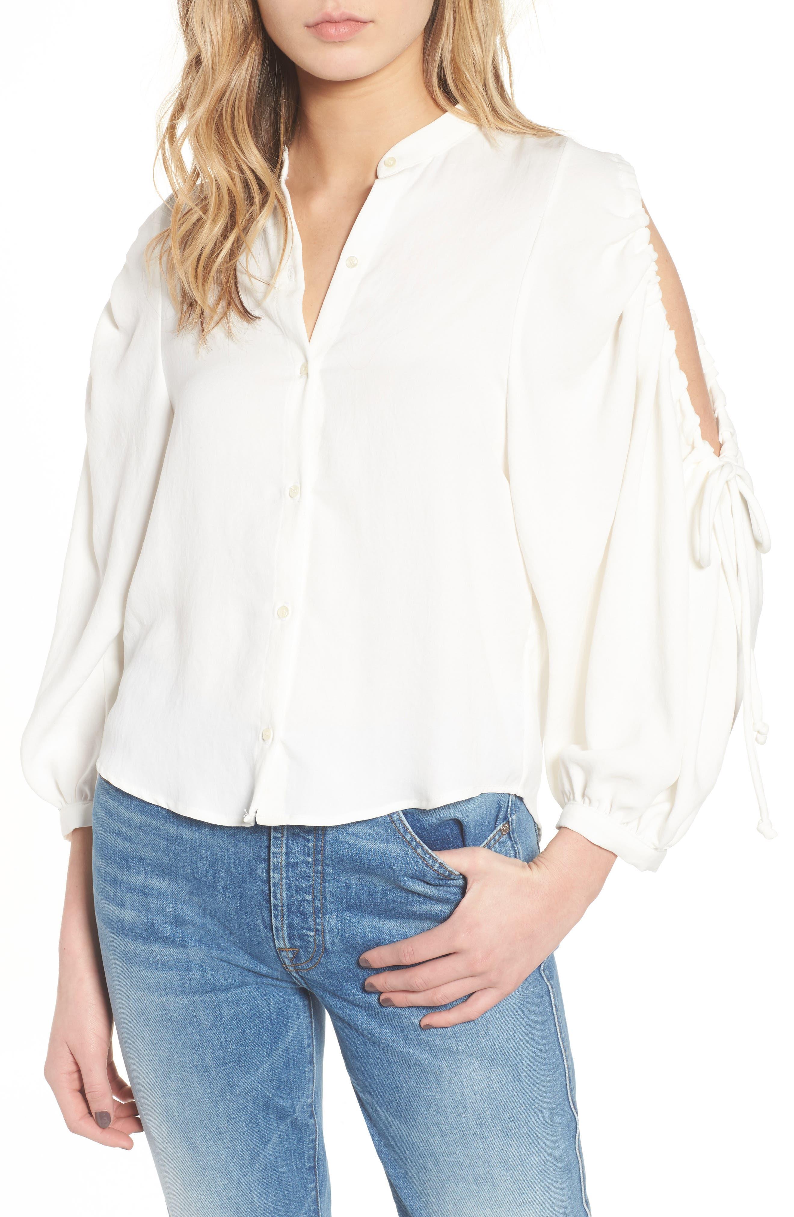 Cold Shoulder Top,                         Main,                         color, SOFT WHITE