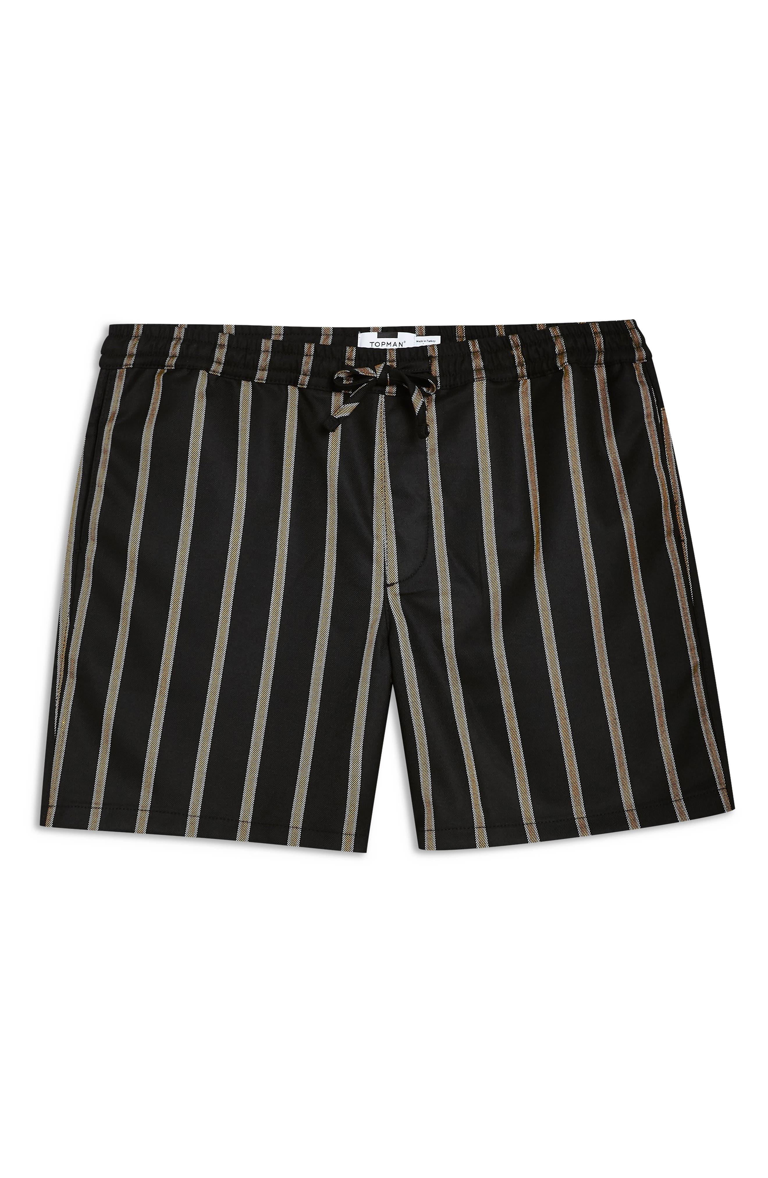 Striped Swim Shorts,                             Alternate thumbnail 4, color,                             BLACK MULTI