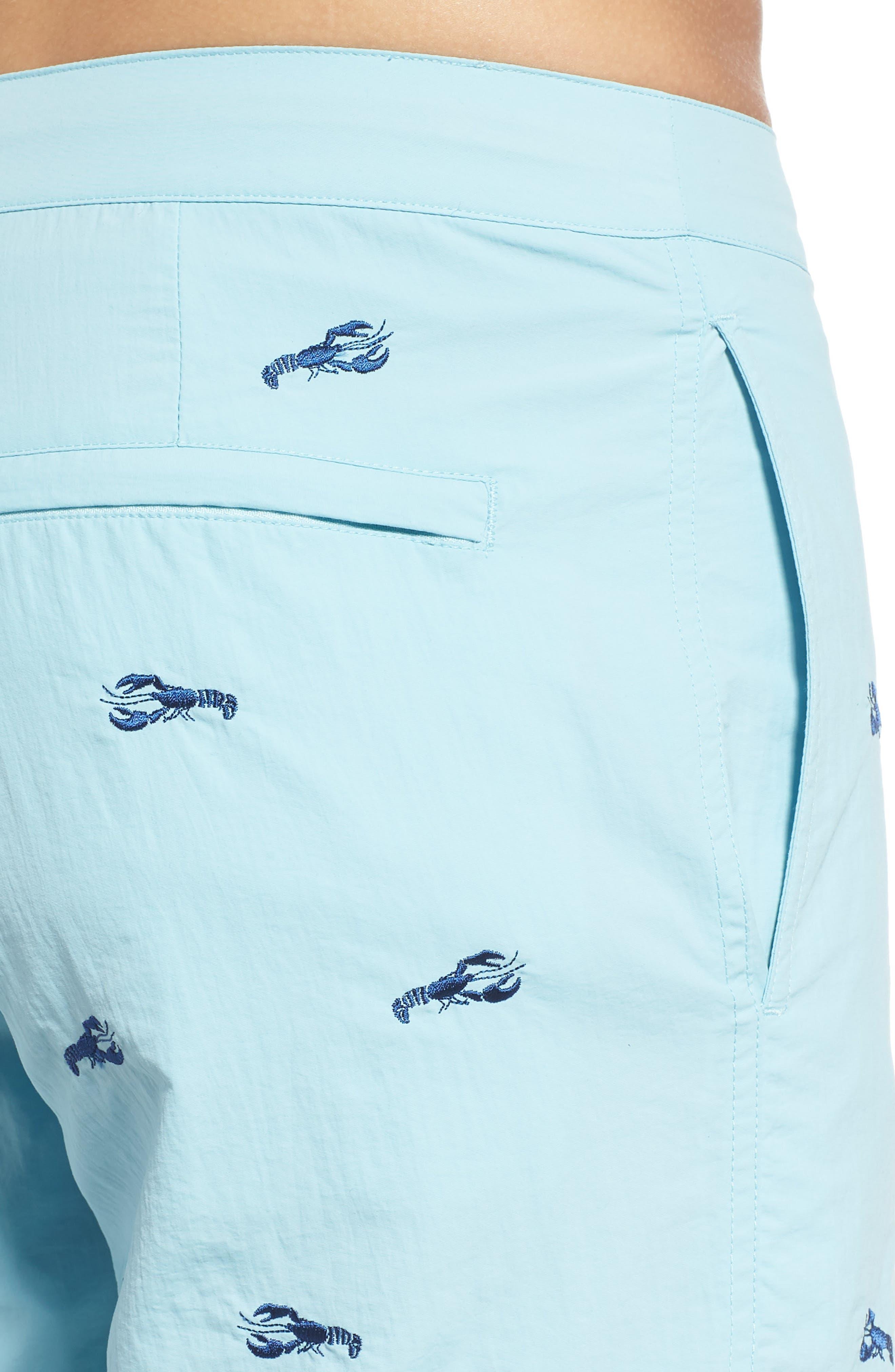 Aruba Embroidered Lobster Swim Trunks,                             Alternate thumbnail 4, color,                             AQUA EMBROIDERED LOBSTERS