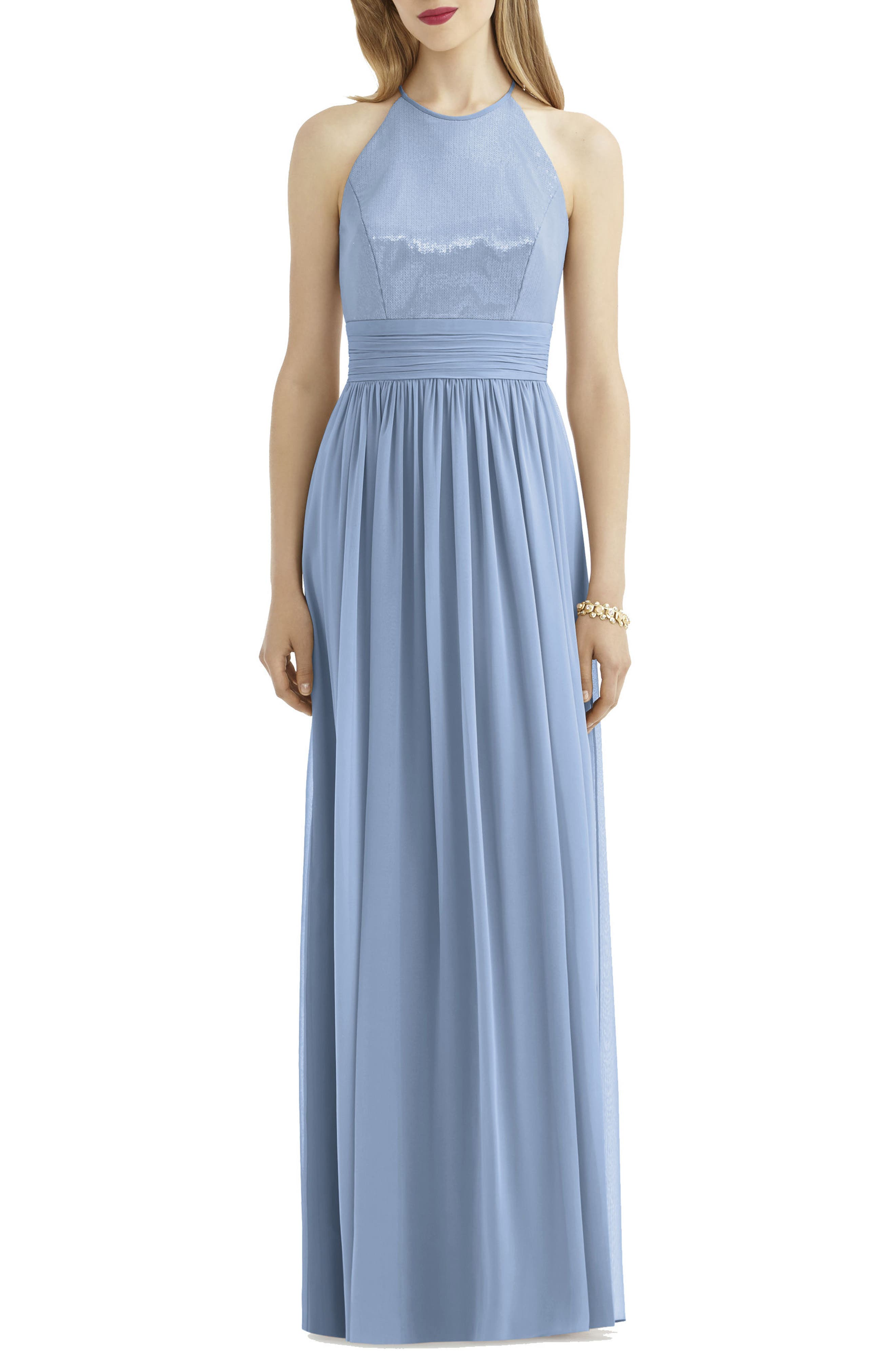 After Six Sequin Open Back Chiffon Gown, Blue