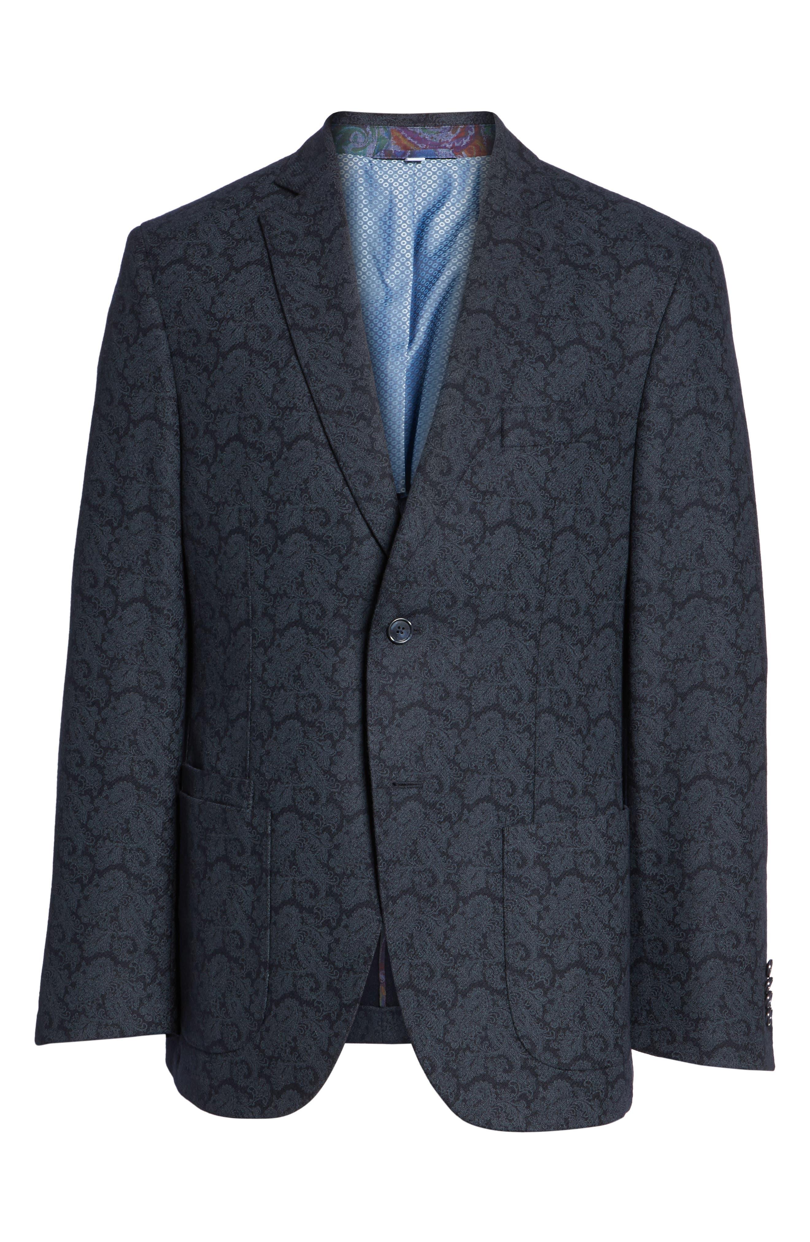 Trim Fit Paisley Wool Blend Sport Coat,                             Alternate thumbnail 5, color,                             403