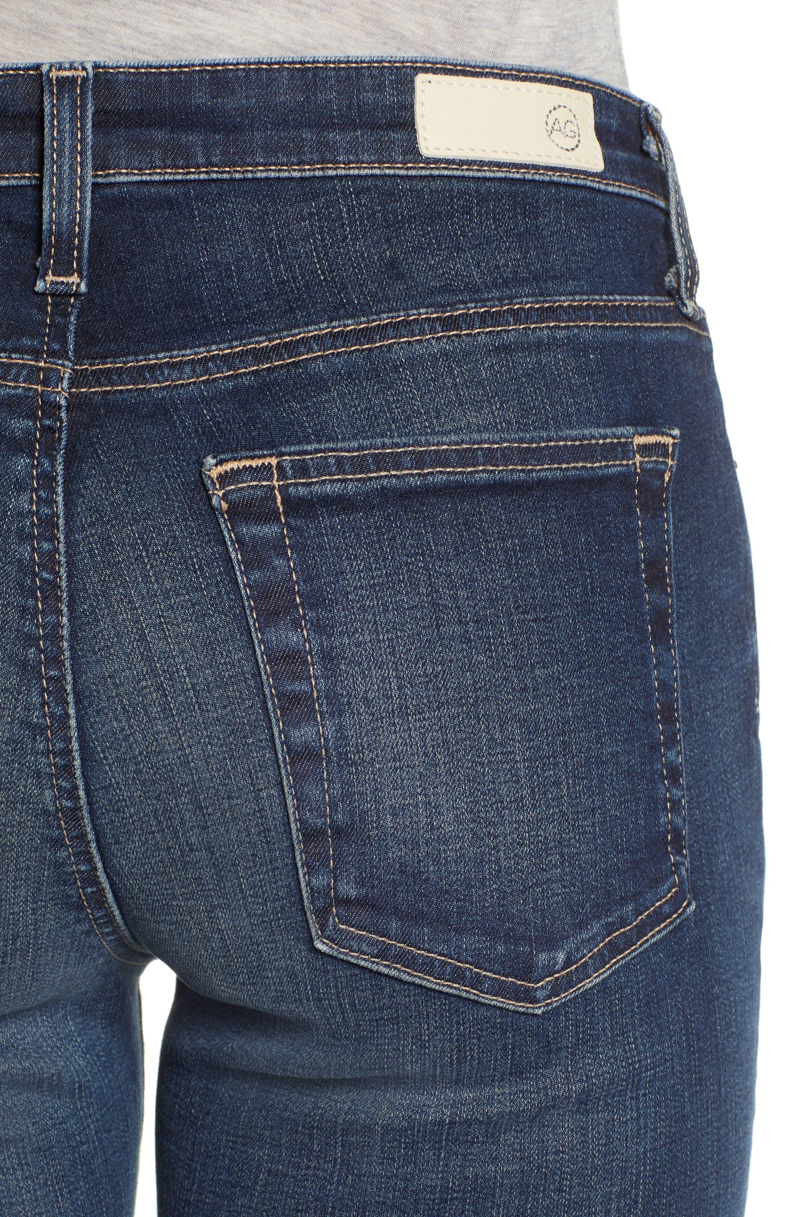 Jodi Raw Hem Crop Flare Jeans,                             Alternate thumbnail 4, color,                             10Y PURSUED