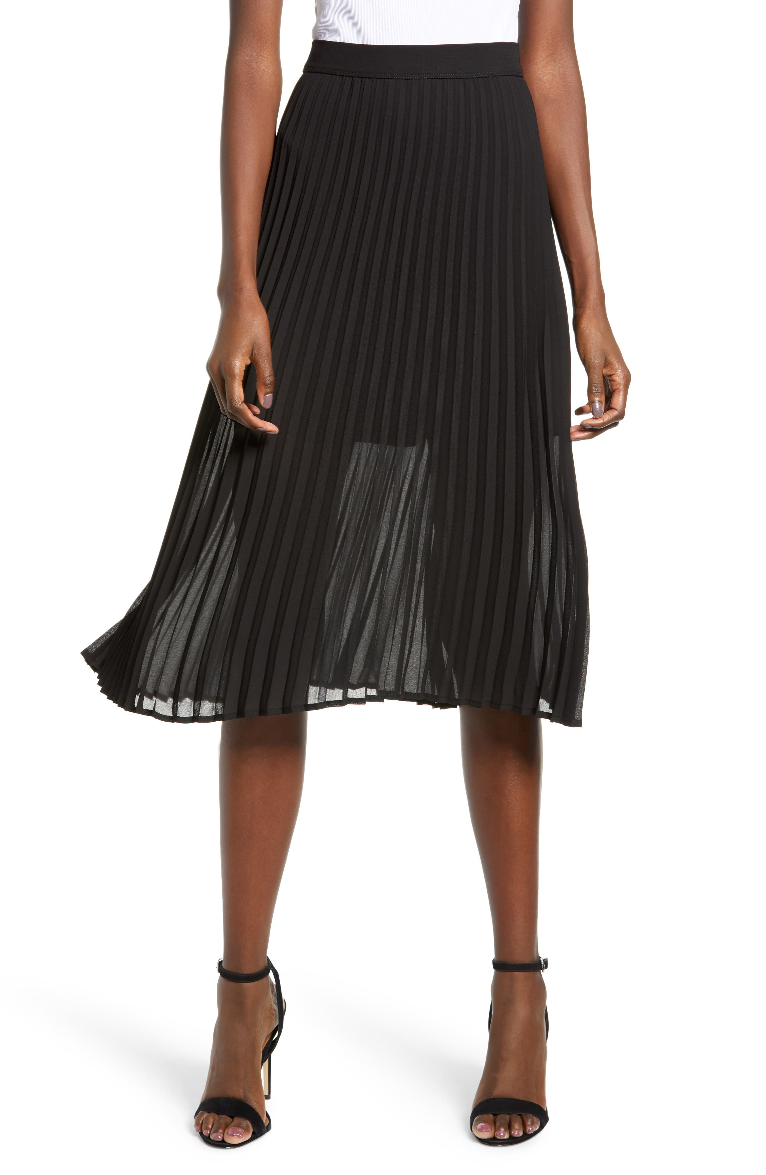 LOVE, FIRE Pleated Georgette Midi Skirt, Main, color, 001