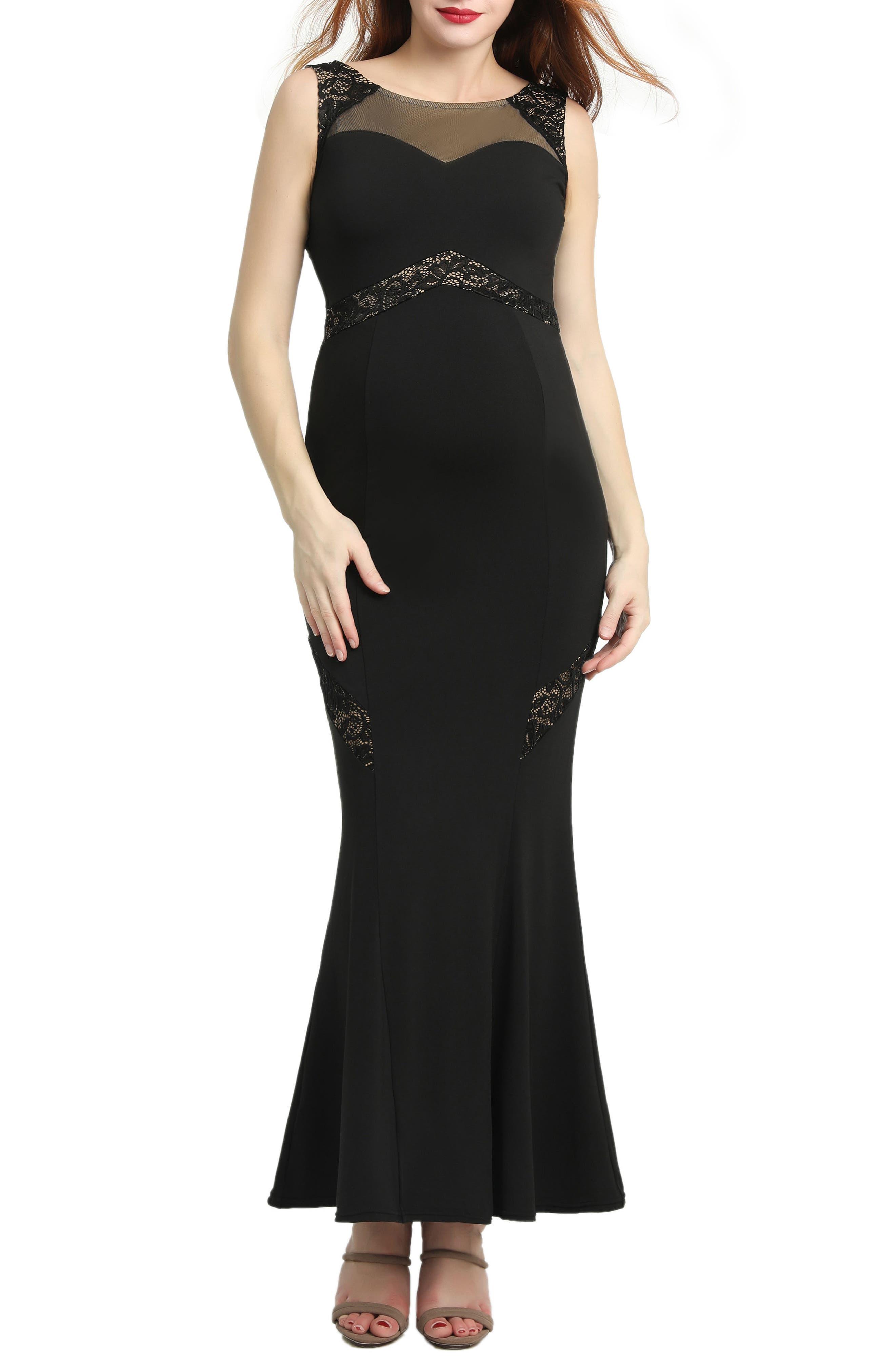 KIMI AND KAI Corinne Lace Trim Maternity Mermaid Maxi Dress, Main, color, BLACK