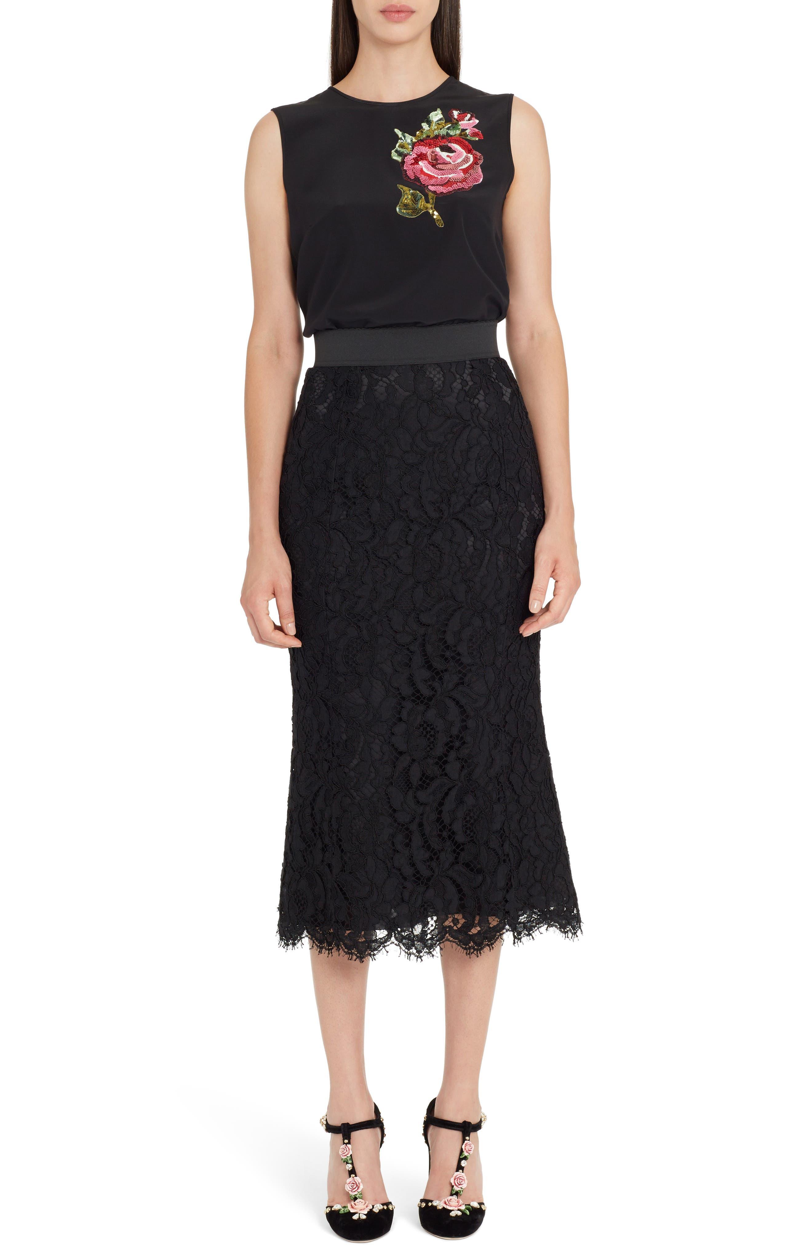 Lace Midi Skirt,                             Alternate thumbnail 6, color,                             BLACK