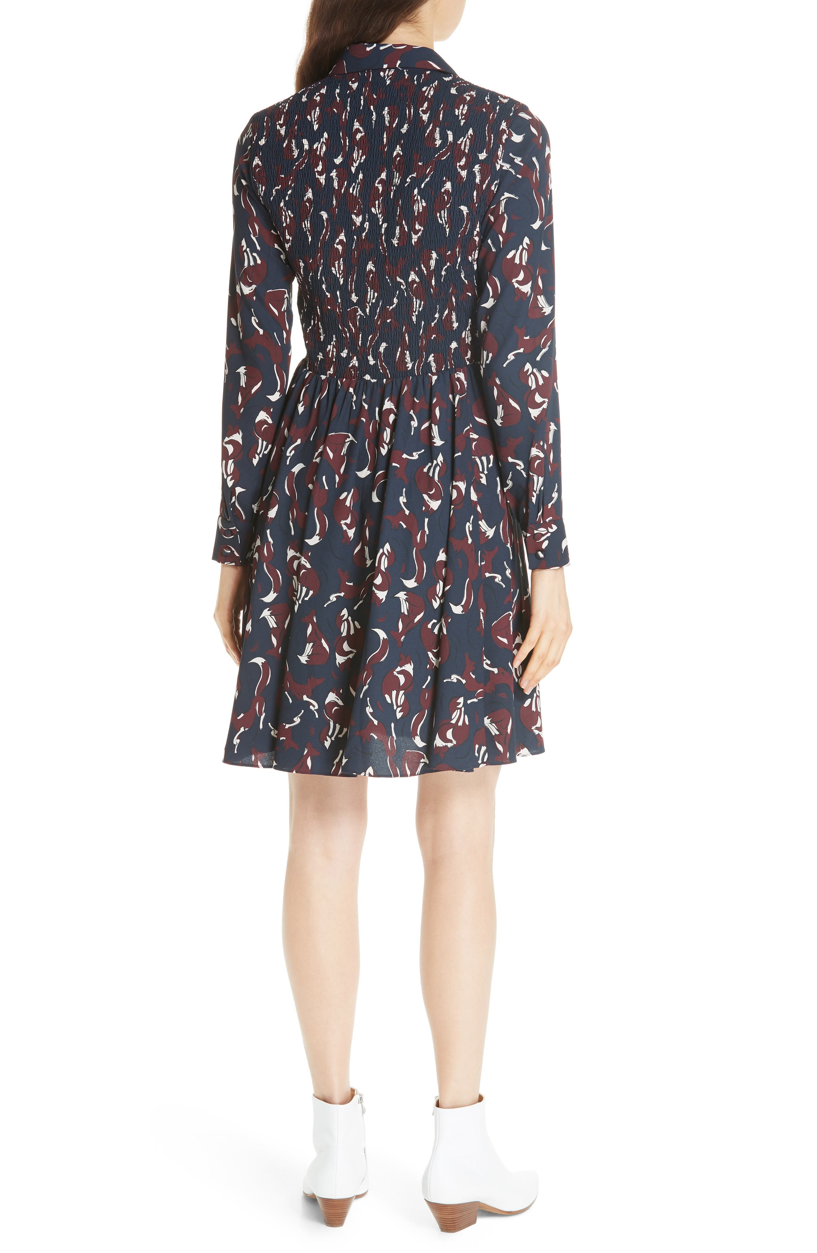 KATE SPADE NEW YORK,                             foxes smocked shirtdress,                             Alternate thumbnail 2, color,                             426