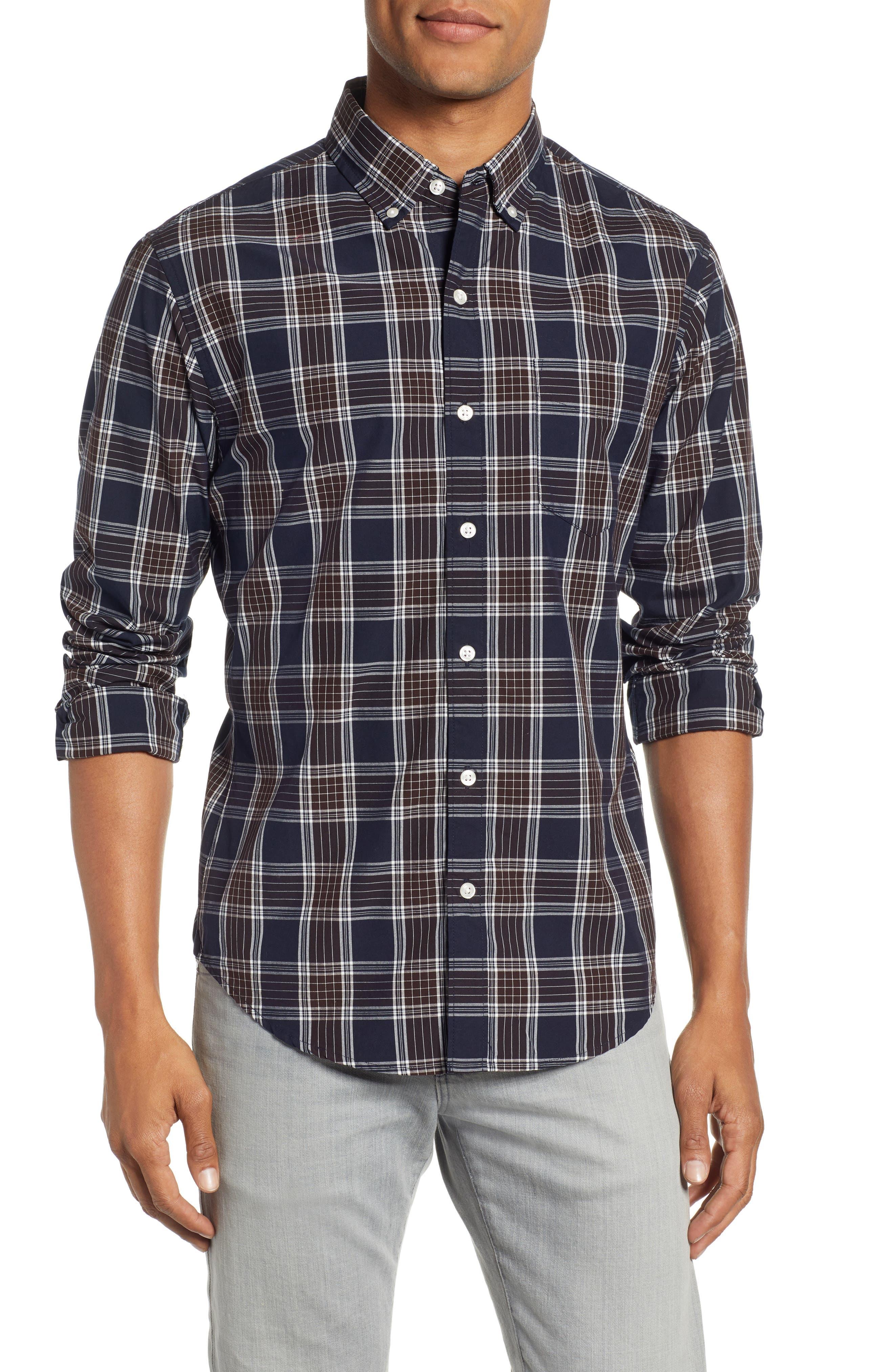 Washed Slim Fit Plaid Sport Shirt,                         Main,                         color, HAWN LAKE PLAID - CEDAR SHAKES
