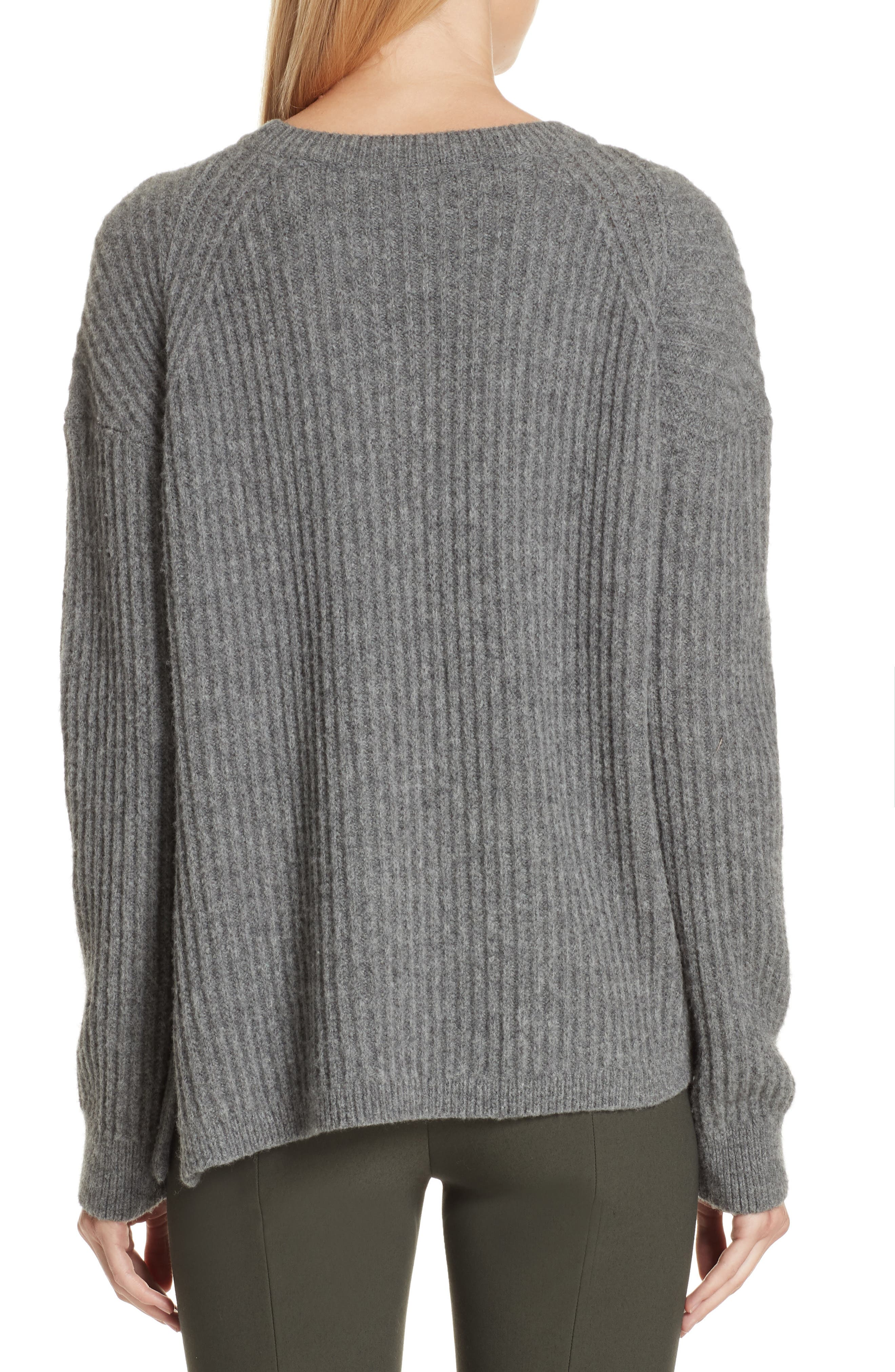 Side Slit Ribbed Sweater,                             Alternate thumbnail 2, color,                             MID GREY
