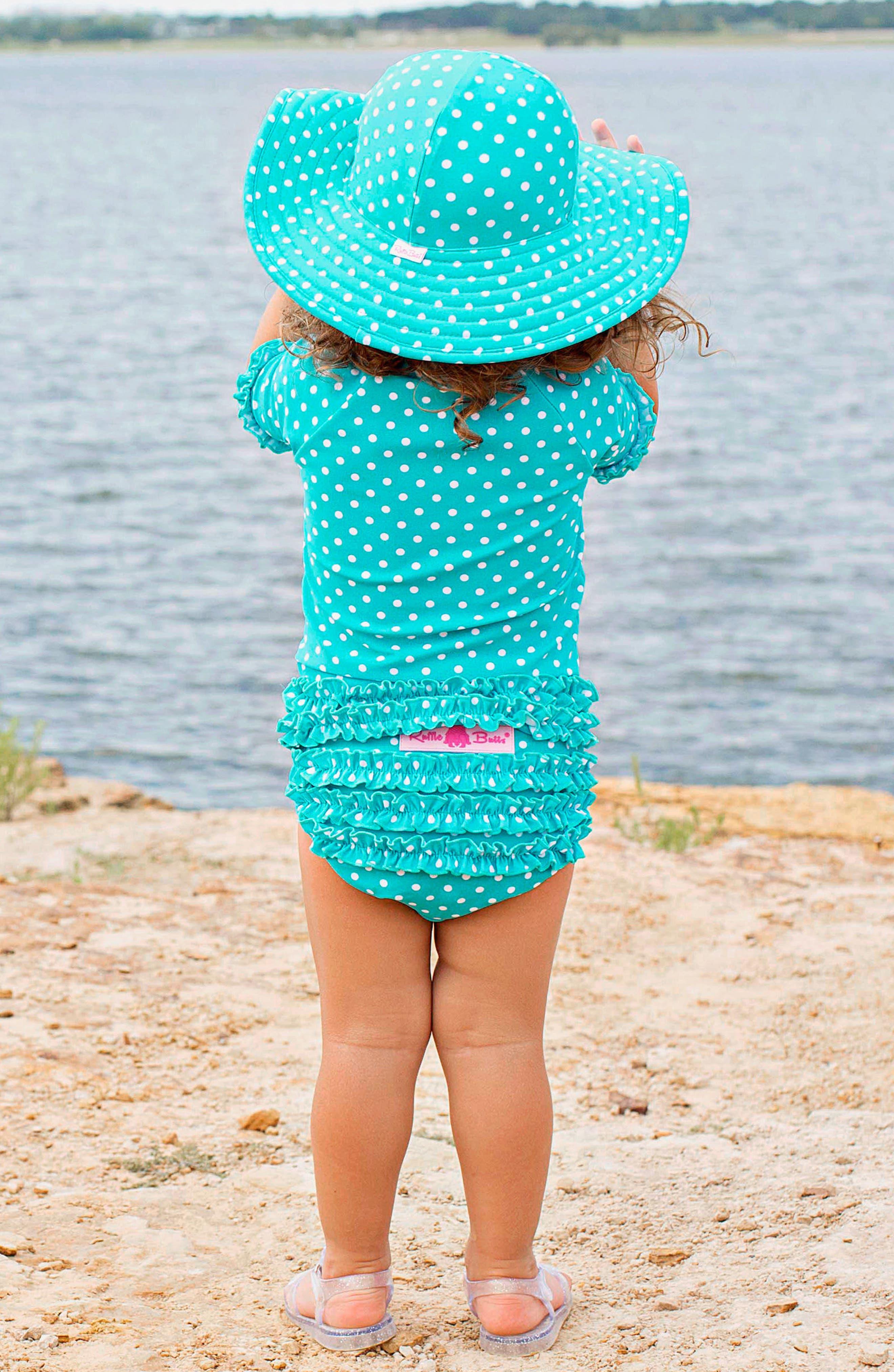 One-Piece Rashguard Swimsuit & Hat Set,                             Alternate thumbnail 4, color,                             AQUA
