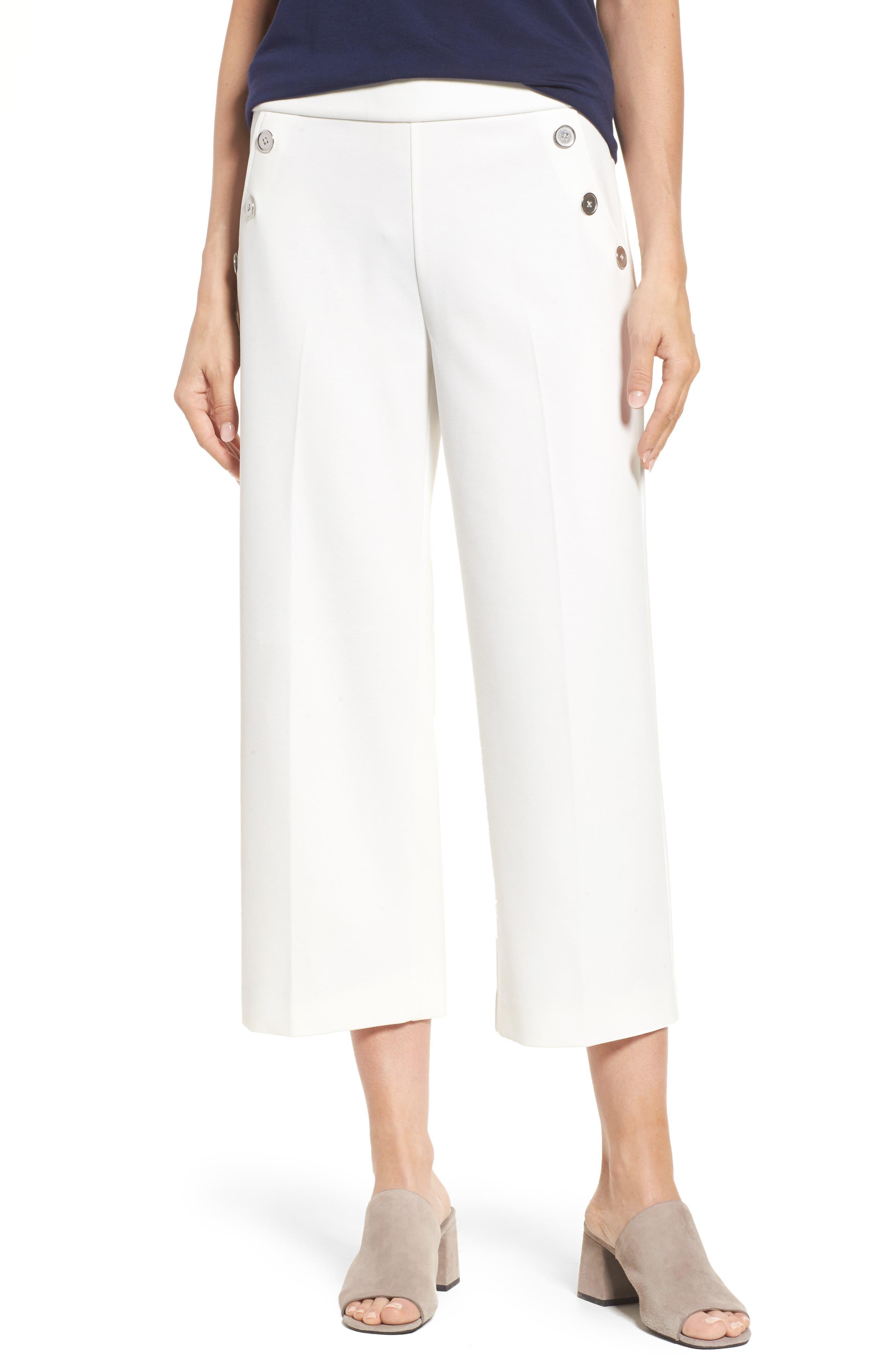 Crop Ponte Knit Sailor Pants,                         Main,                         color, NEW IVORY