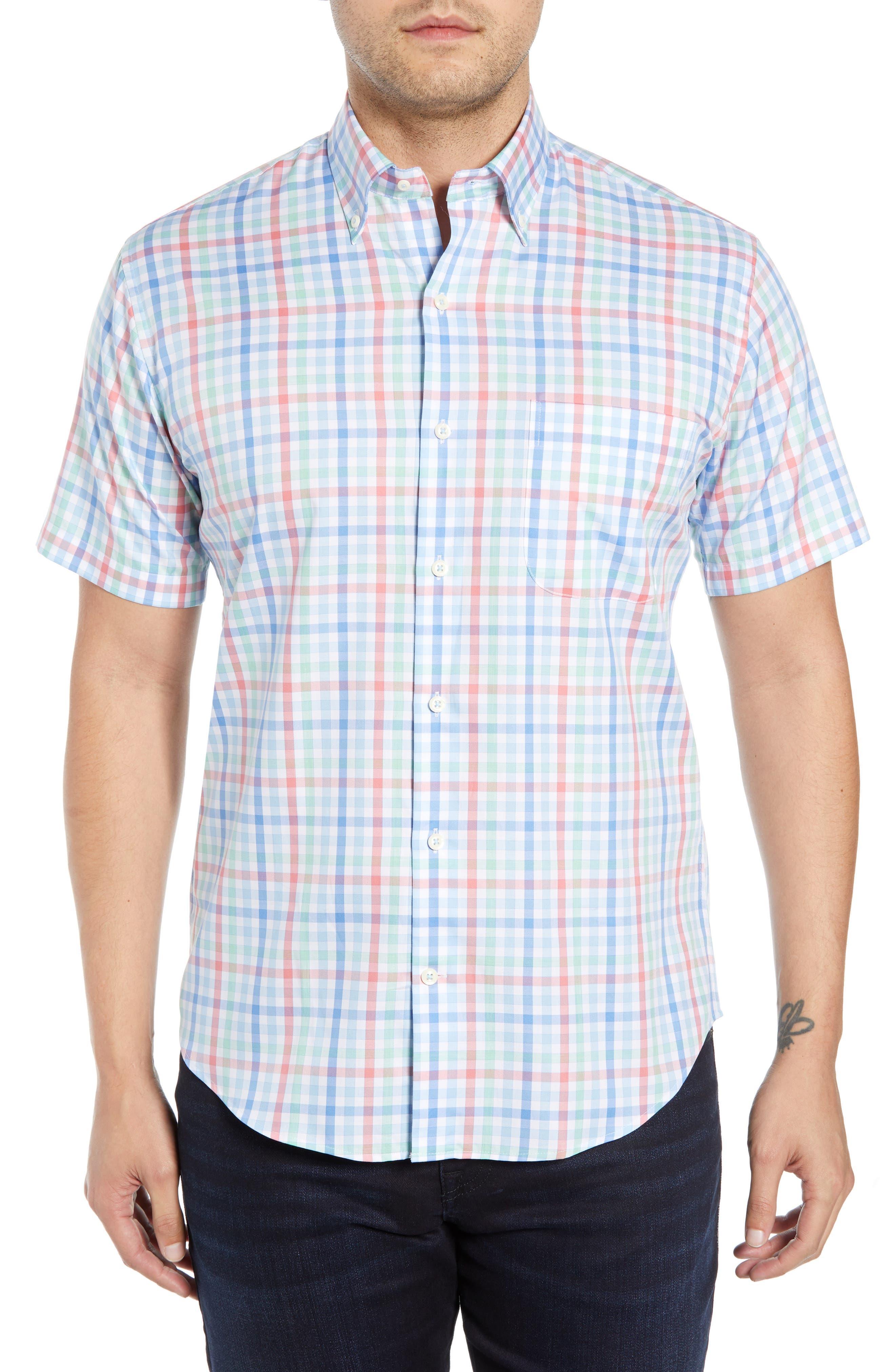 Peter Millar Crown Classic Fit Plaid Cotton Sport Shirt, Blue