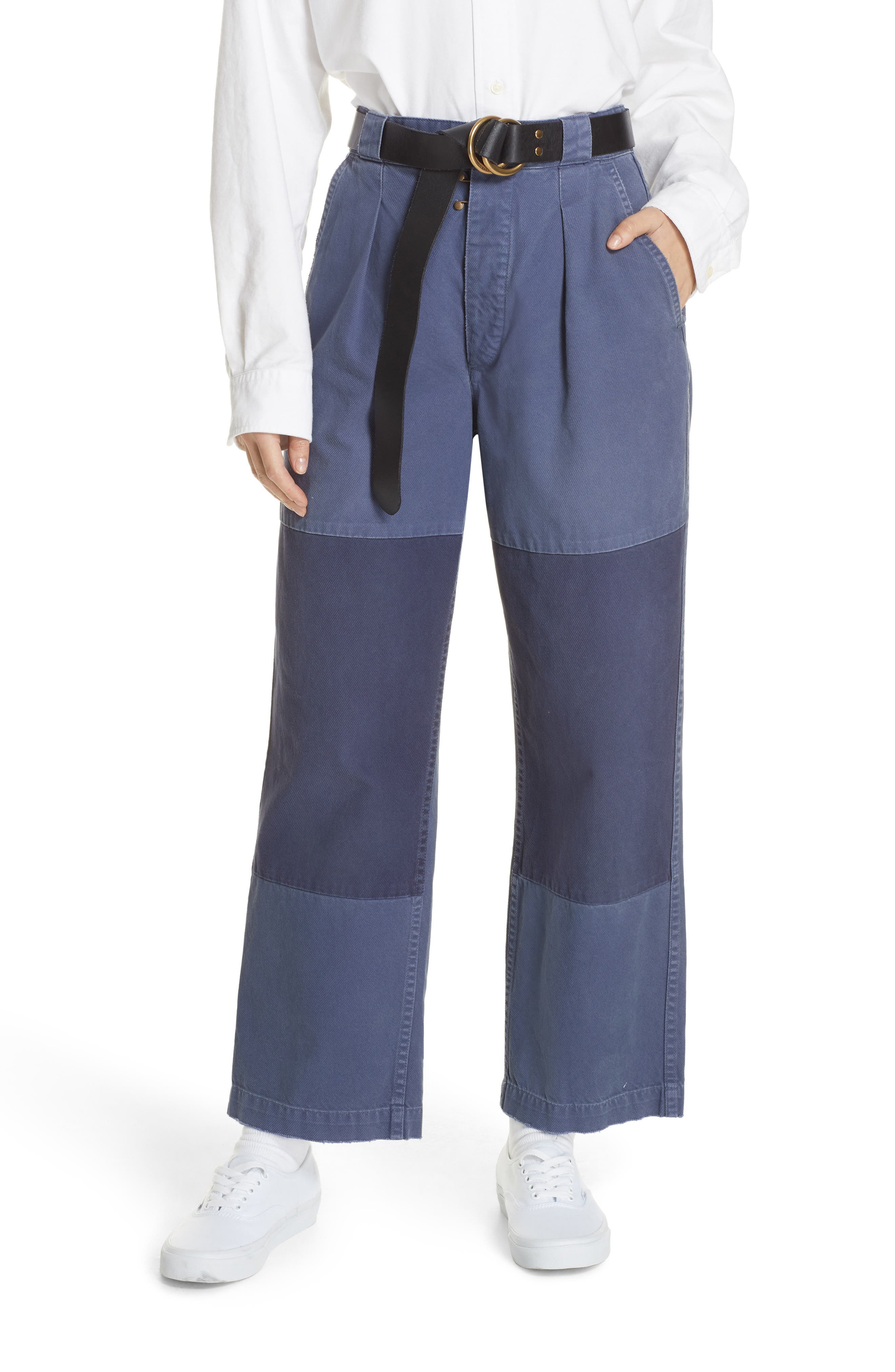 Patched Wide Leg Pants,                         Main,                         color, NEW CLASSIC NAVY/ LIGHT NAVY
