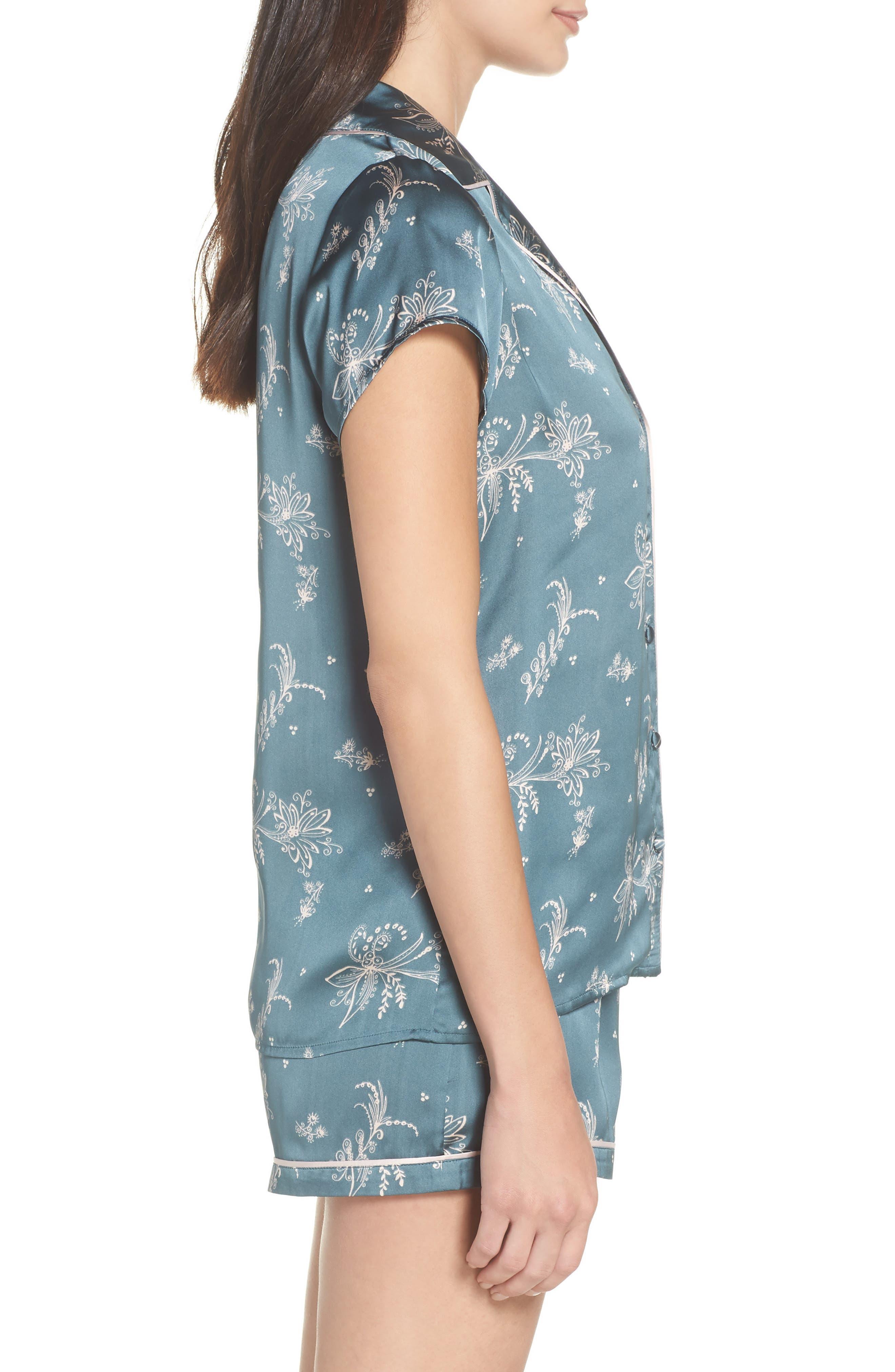 Satin Pajamas,                             Alternate thumbnail 3, color,                             BLUE GOBLIN FLIRTY FLORAL