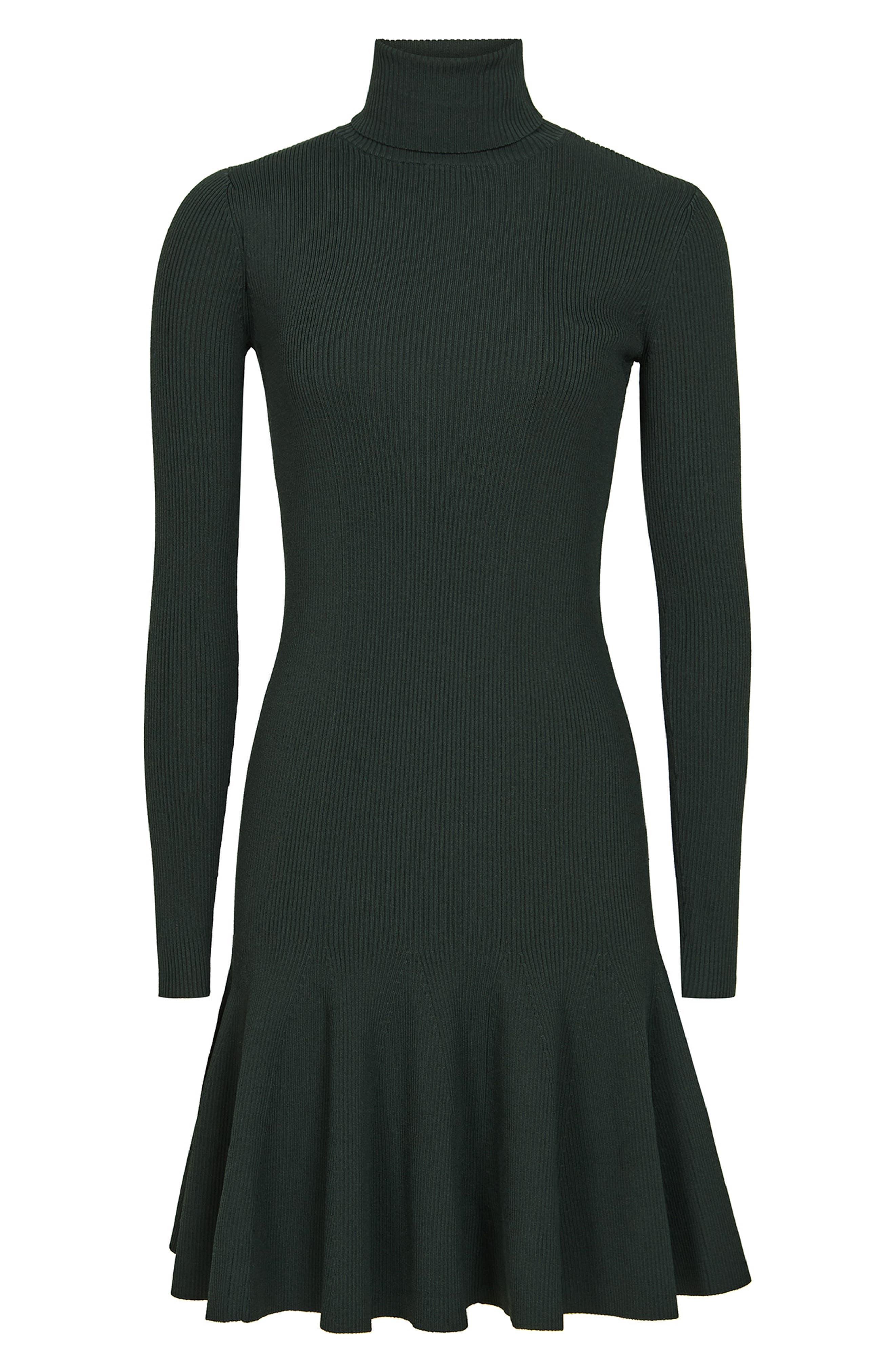 REISS,                             Mimi Turtleneck Sweater Dress,                             Alternate thumbnail 4, color,                             GREEN