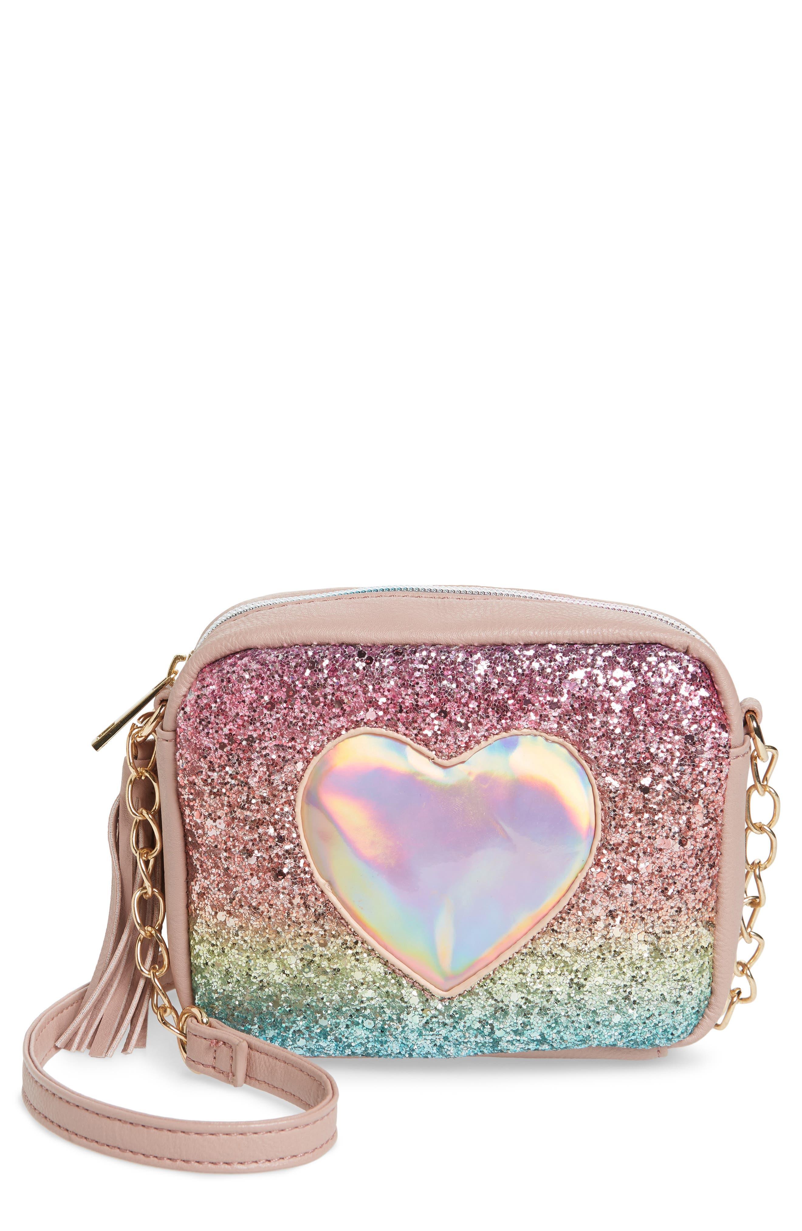Girls Omg Glitter Crossbody Bag  Pink