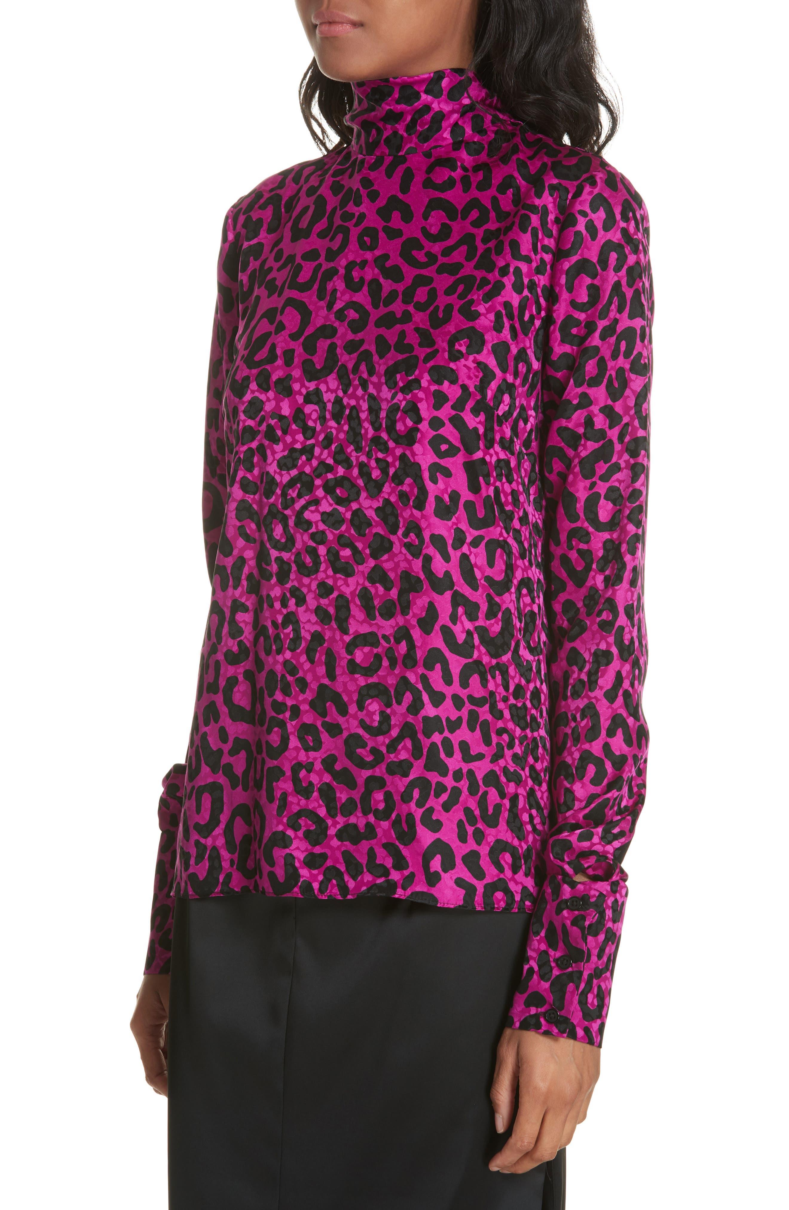 Leopard Print Silk Jacquard Top,                             Alternate thumbnail 4, color,                             673