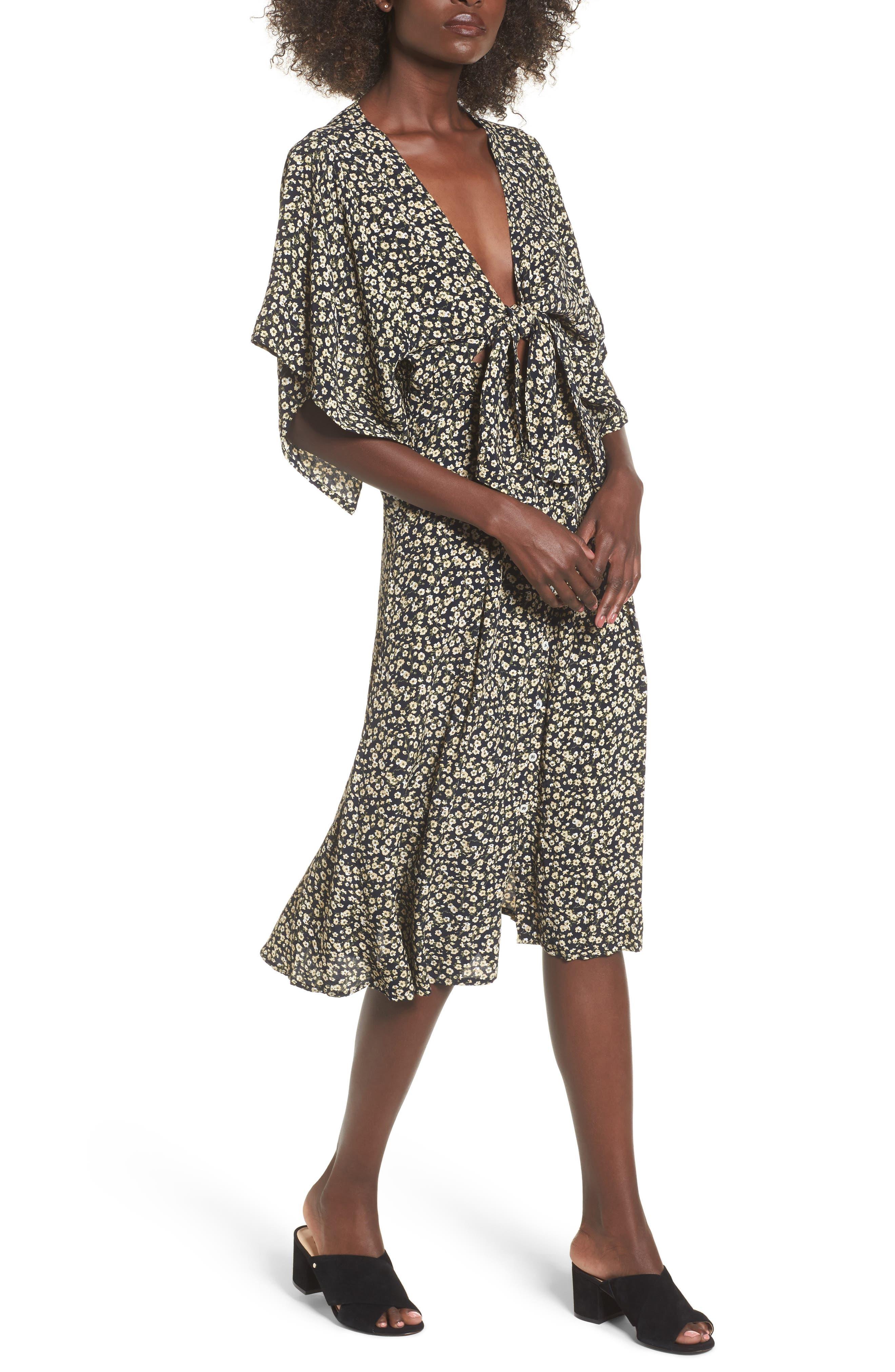 Massimo Tie Front Midi Dress,                         Main,                         color, 700