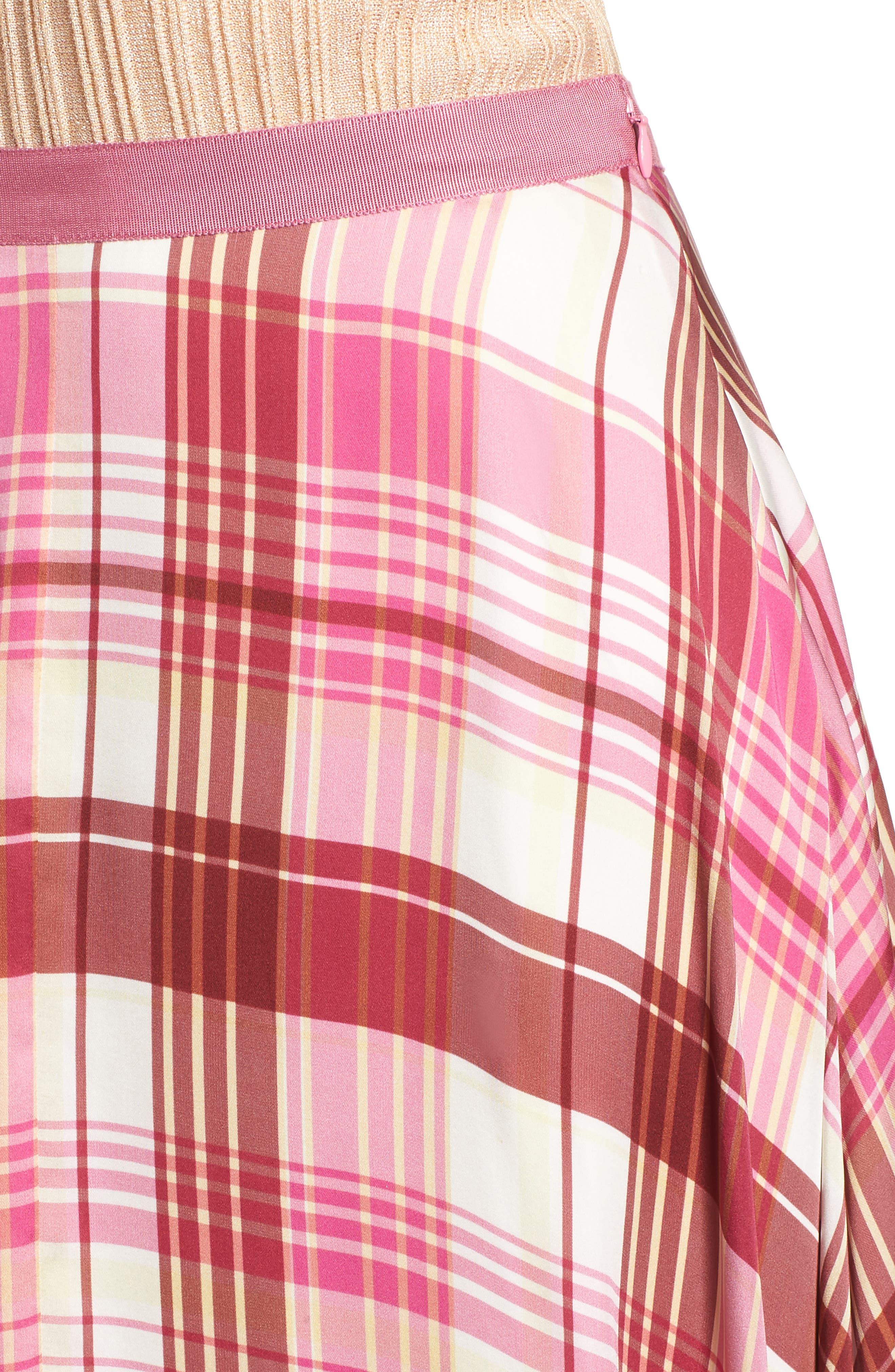 Plaid Silk Skirt,                             Alternate thumbnail 4, color,                             PINK PHLOX LARA PLAID